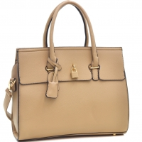 Buffalo Faux Leather Padlock Satchel with Shoulder Strap