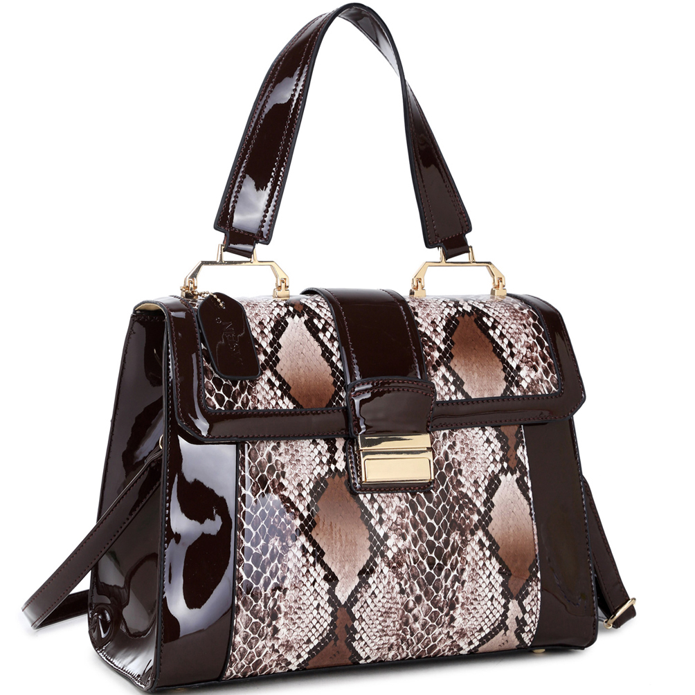 Dasein®  Patent Leather Fold-Over Lock Tote Bag