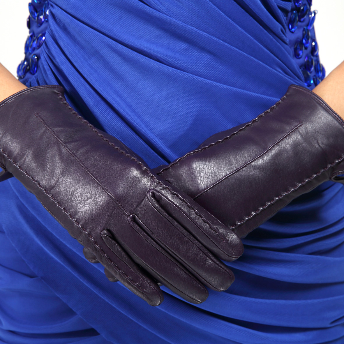 Dasein Women's Fleece-Lined Italian Genuine Leather Lambskin Gloves