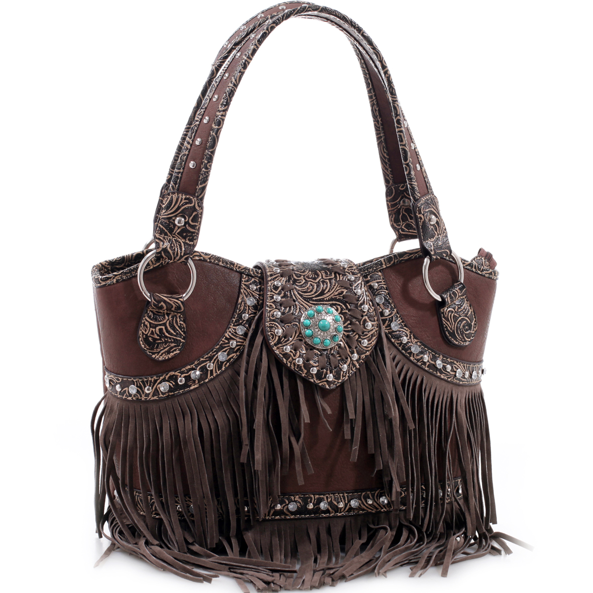 Realtree® Tooled Floral Trim Fringe Studded Shoulder Bag