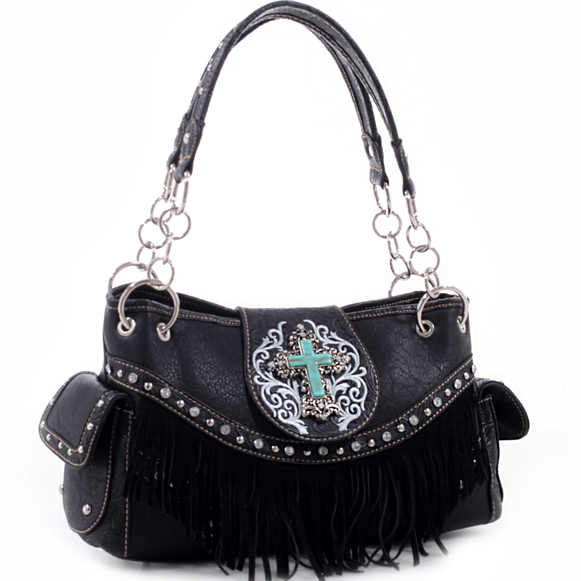Realtree® Floral Tooled Trim with Fringe and Cross Shoulder Bag