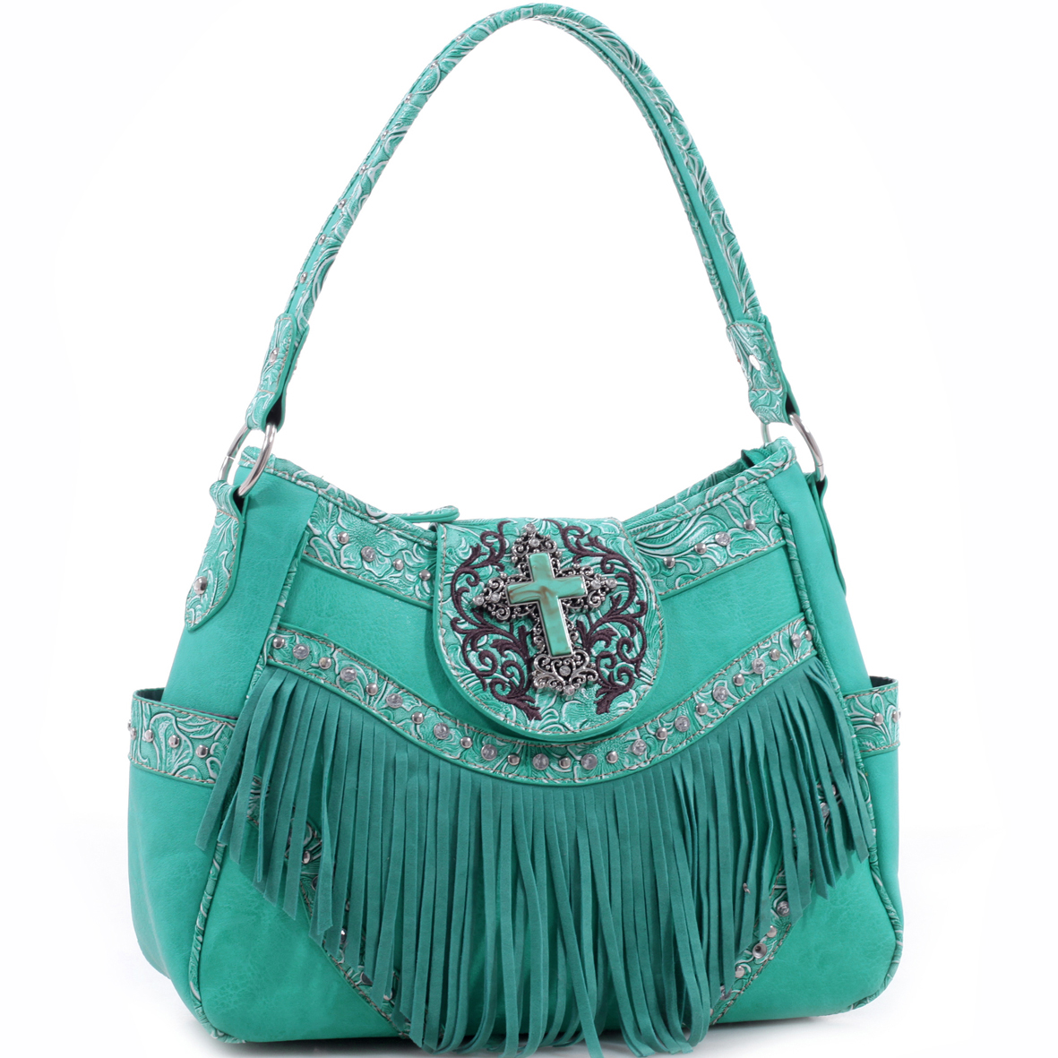 Realtree® Fringed Studded Turquoise Cross Hobo Bag