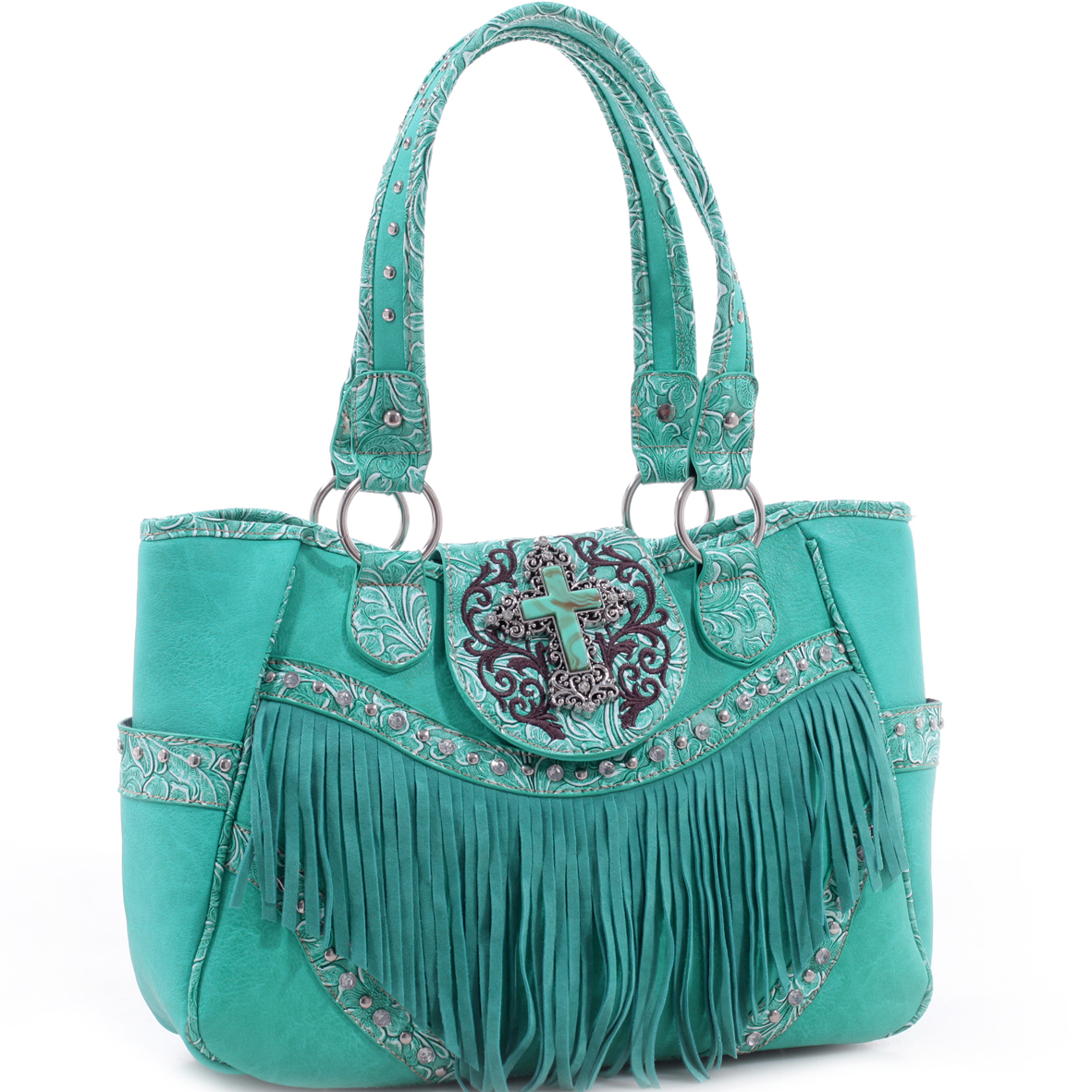 Realtree® Fringe Studded Turquoise Cross Tote Bag