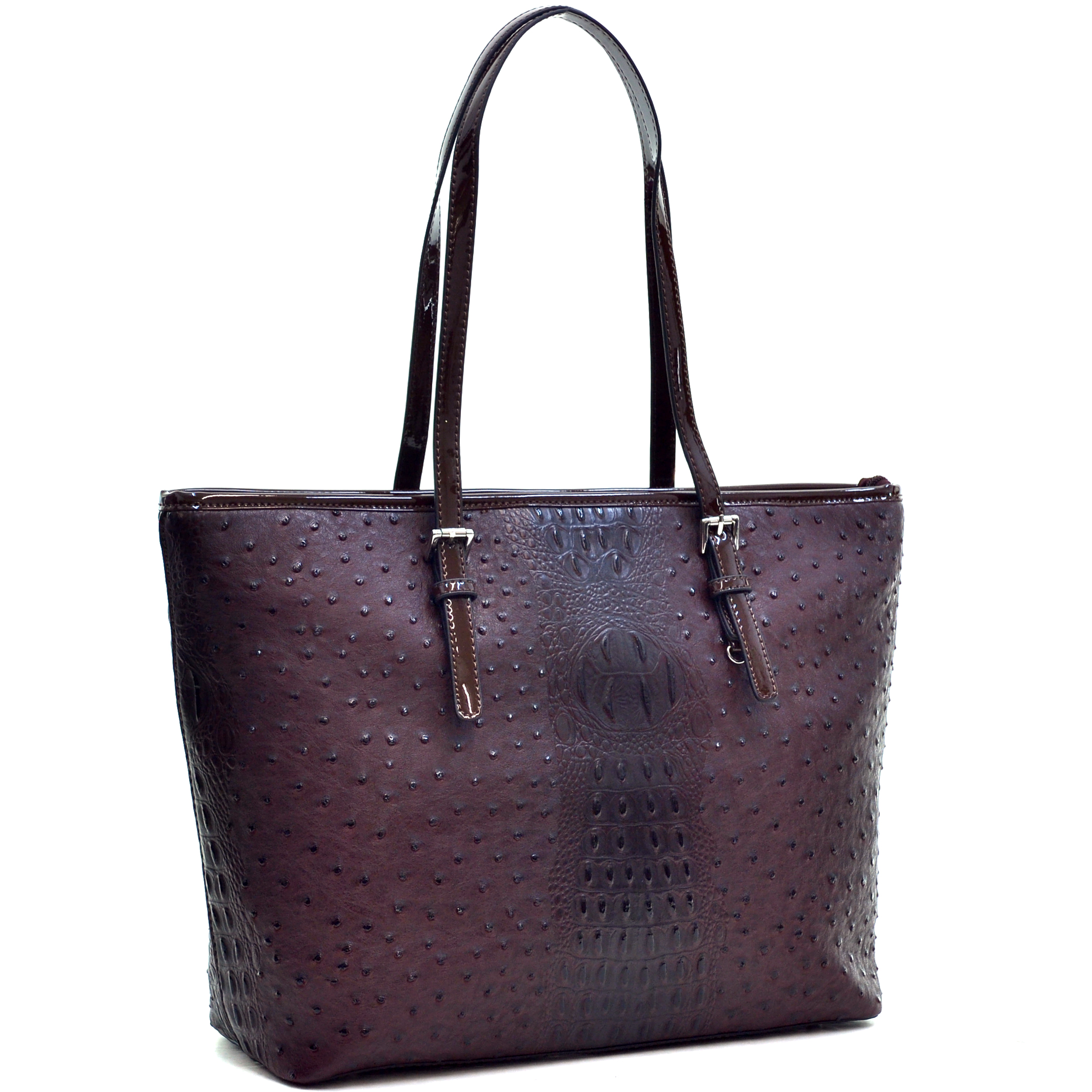 Dasein® Ostrich Faux Leather Tote with Patent Leather Trim