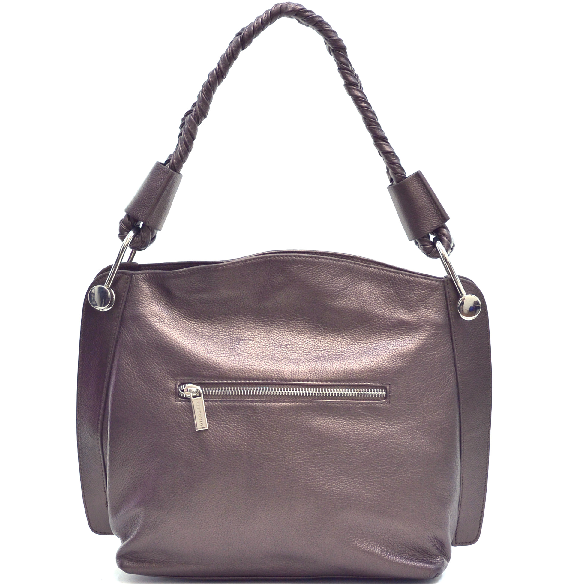 Vittorio Braided Strap Genuine Leather Hobo Bag