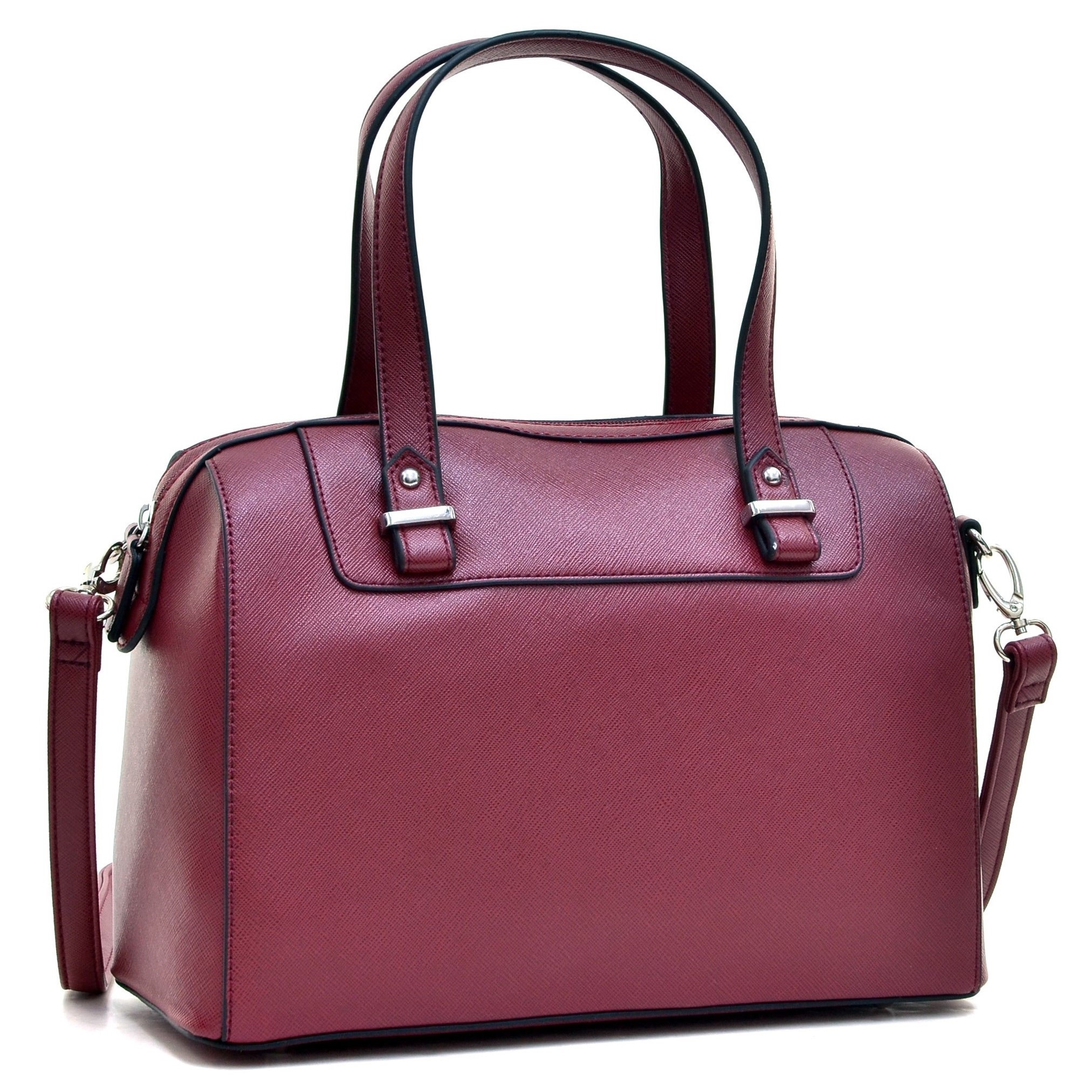 Dasein® Barrel Body Satchel with Removable Shoulder Strap
