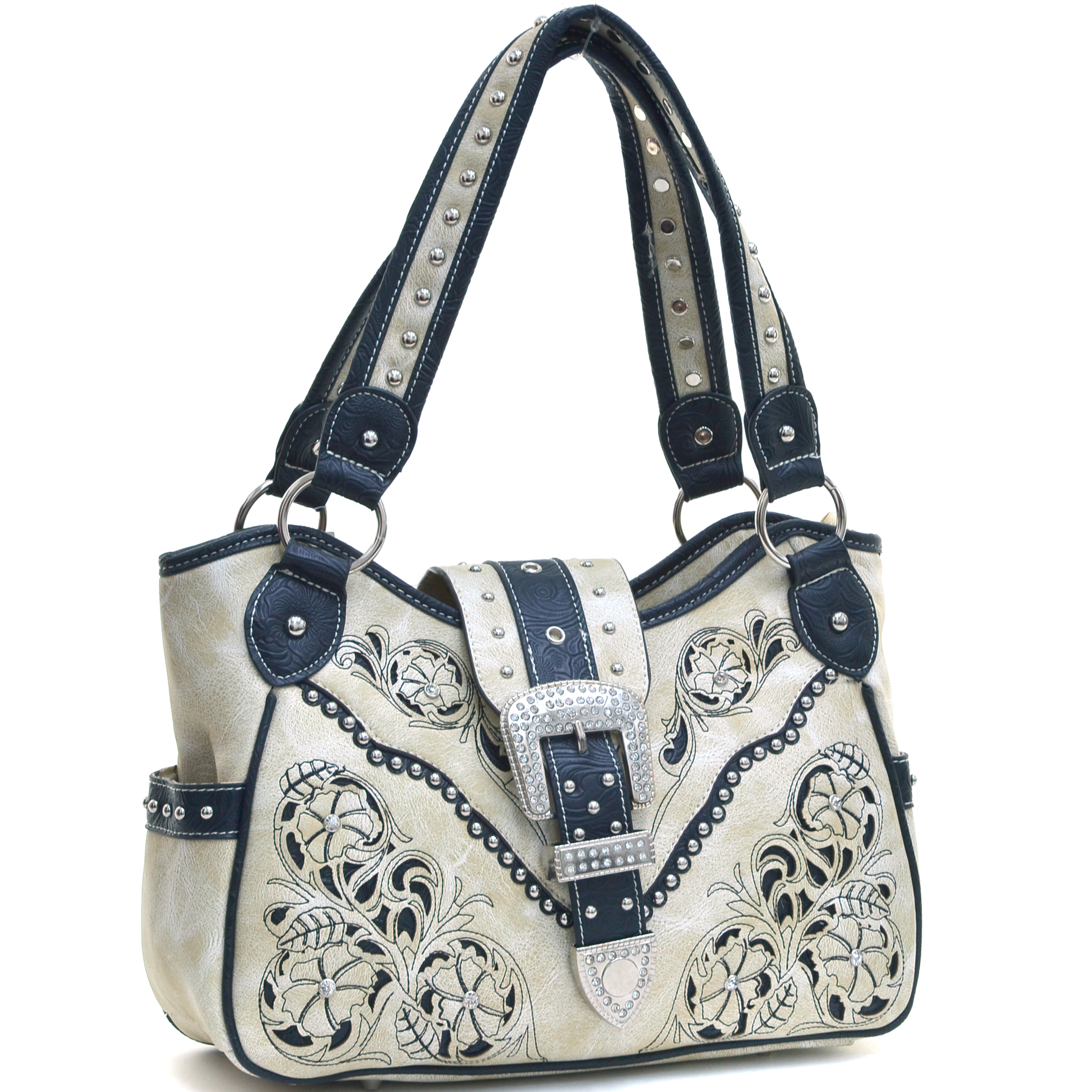 Studded Rhinestone Buckle Embroidered Western Shoulder Bag