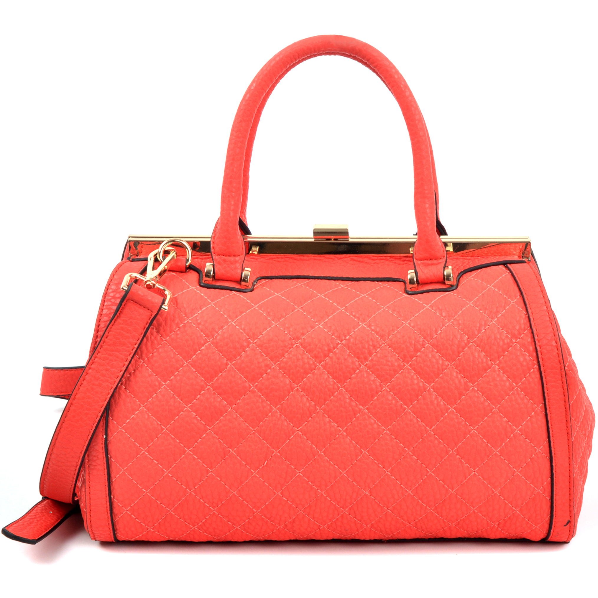 Quilted Barrel Satchel with Push-Up Closure