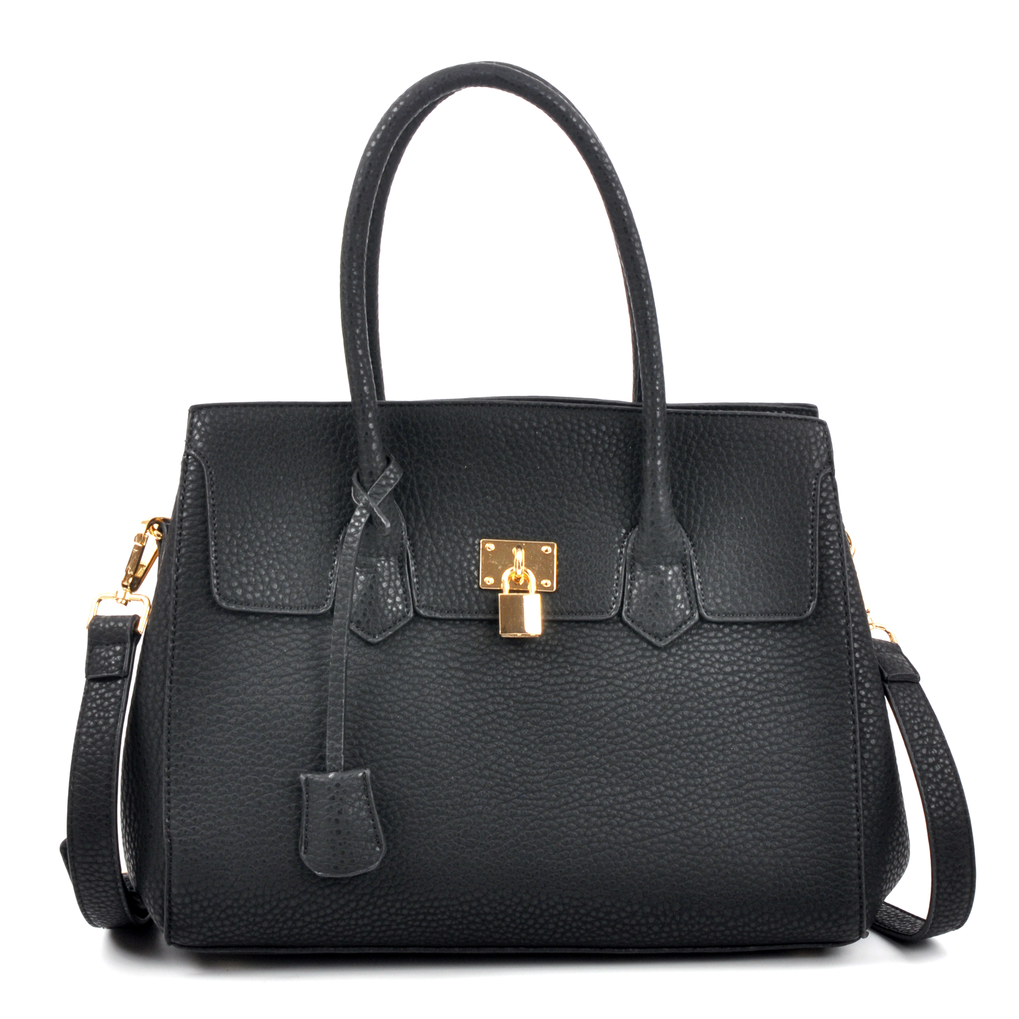 Kiss Lock Compartment Padlock Satchel with Shoulder Strap
