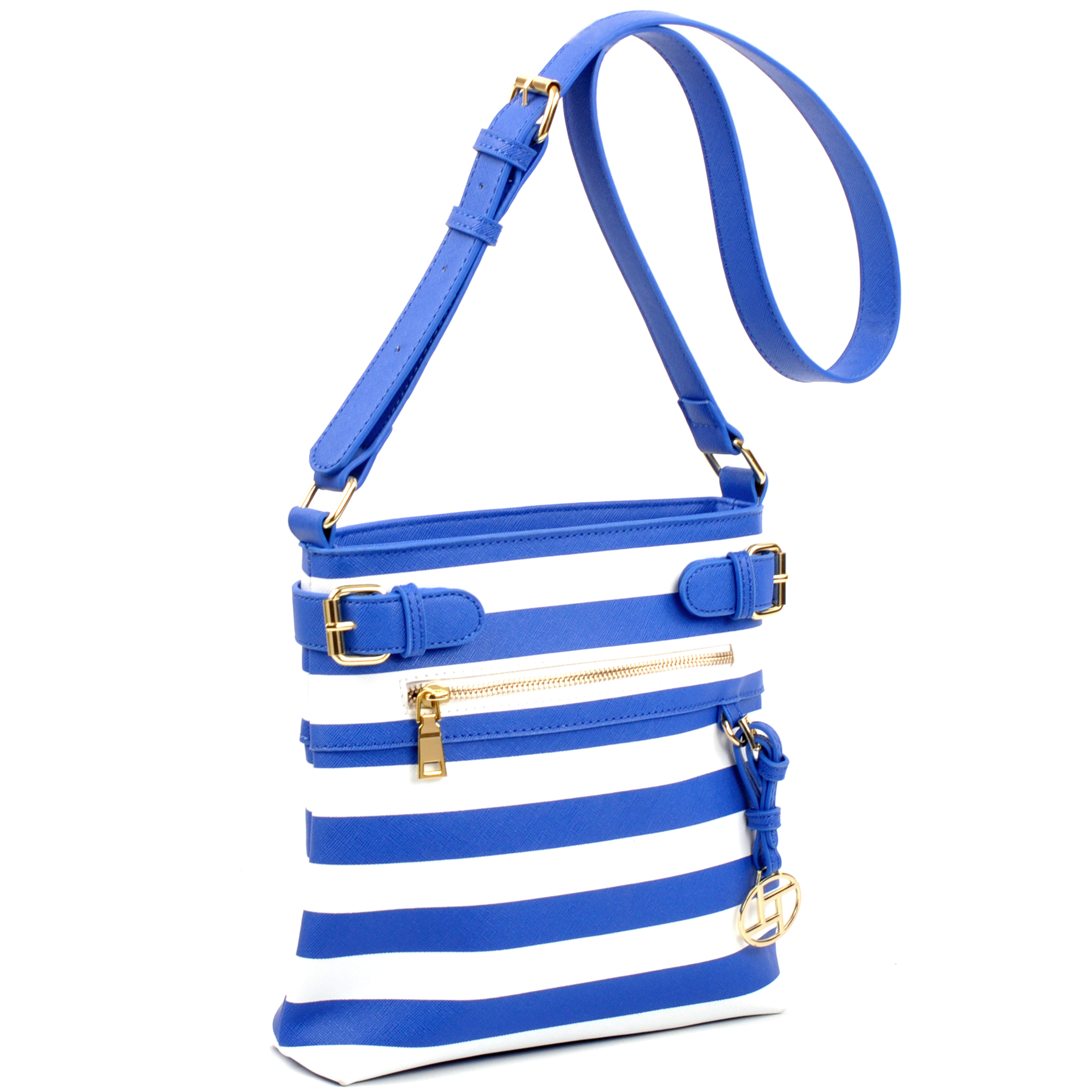 Saffiano Leather Striped Buckled Messager Bag