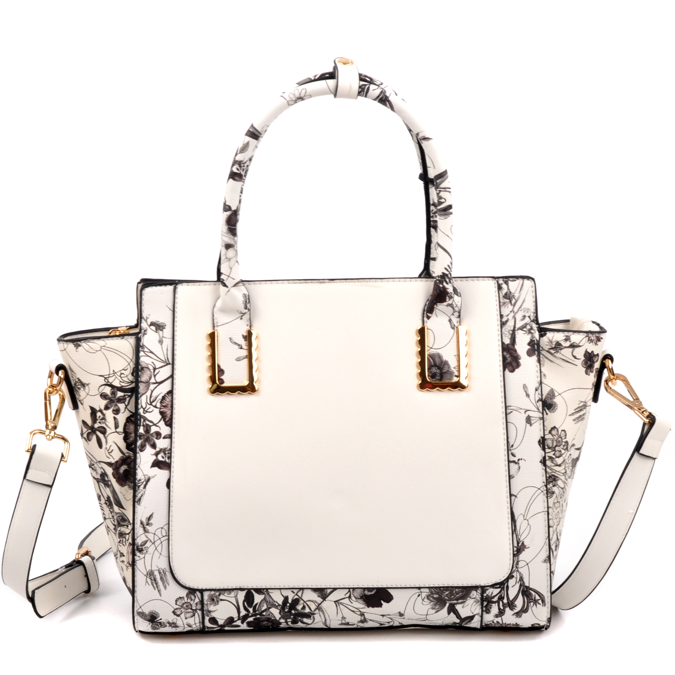 Floral Design Winged Saffiano Studded Satchel