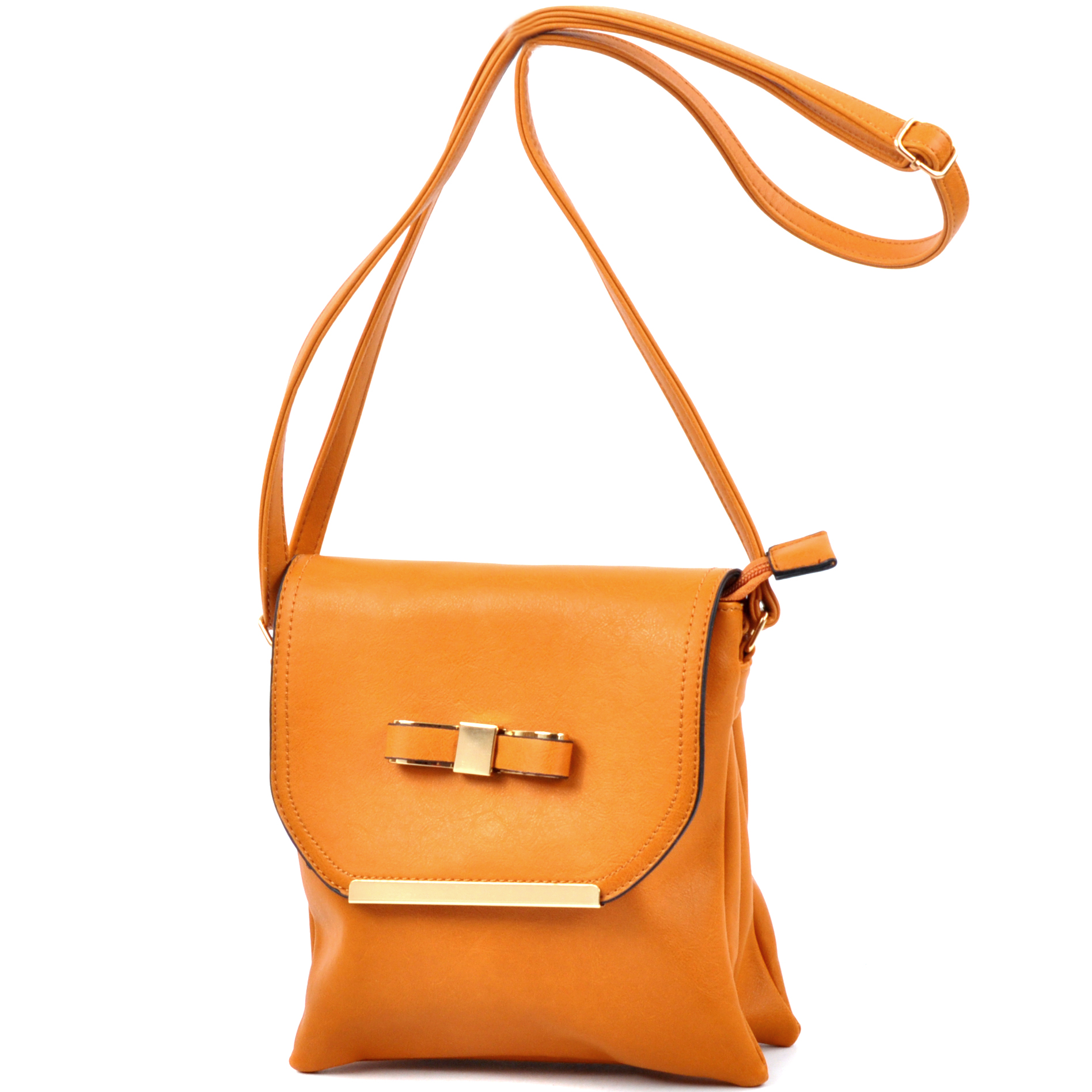 Gold-Tone Bow Messenger Bag