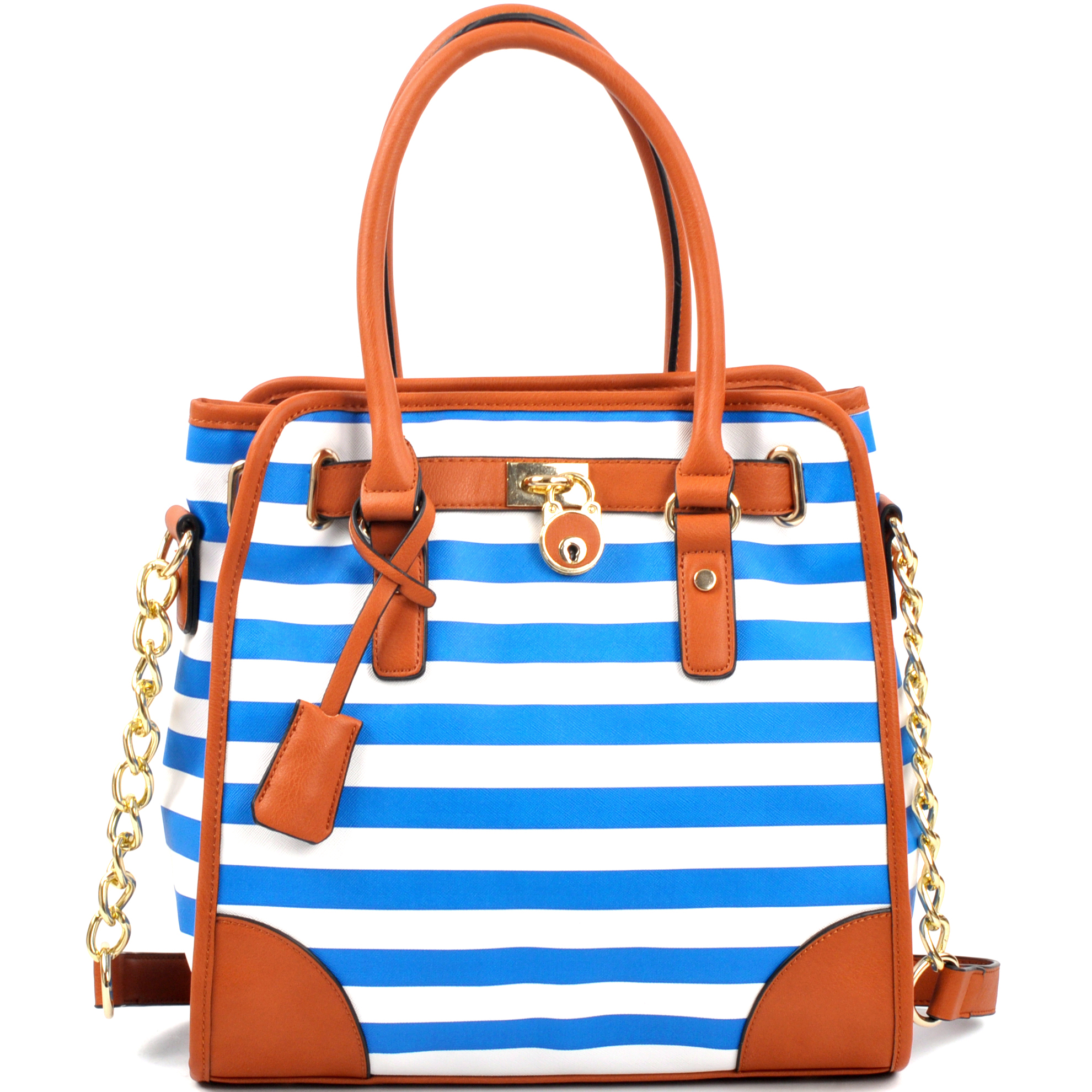 Medium Striped Satchel with Chain Shoulder Strap