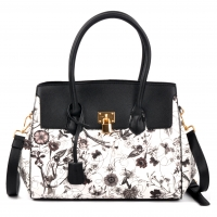 Floral Kiss-Lock Compartment Padlock Satchel