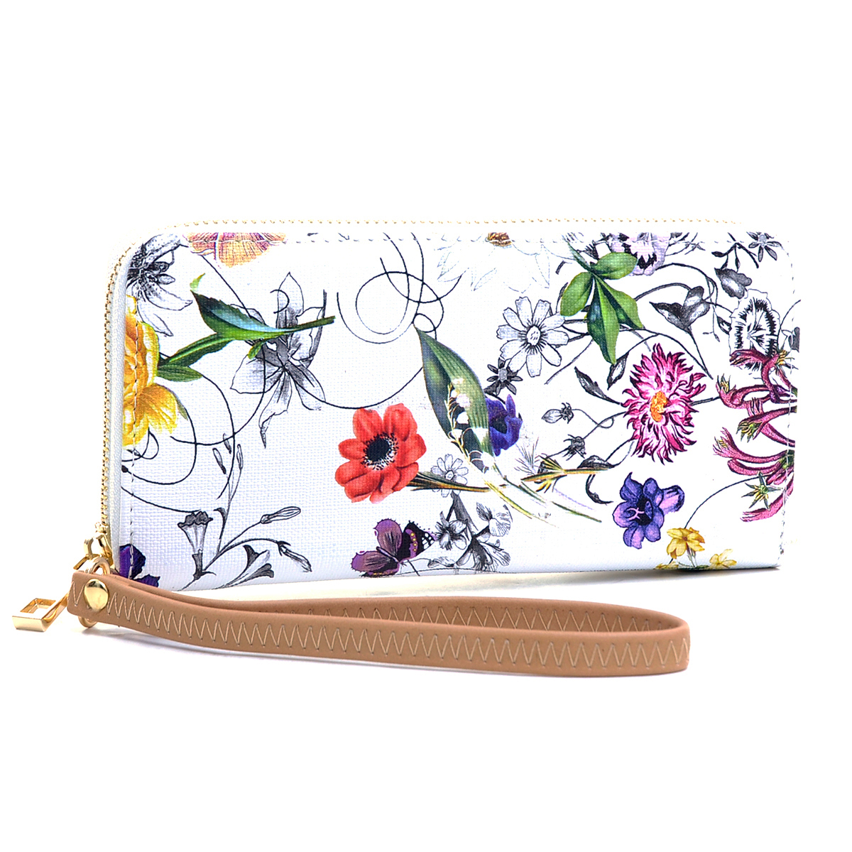 Floral Print Zip-Around Textured Faux Leather Wallet