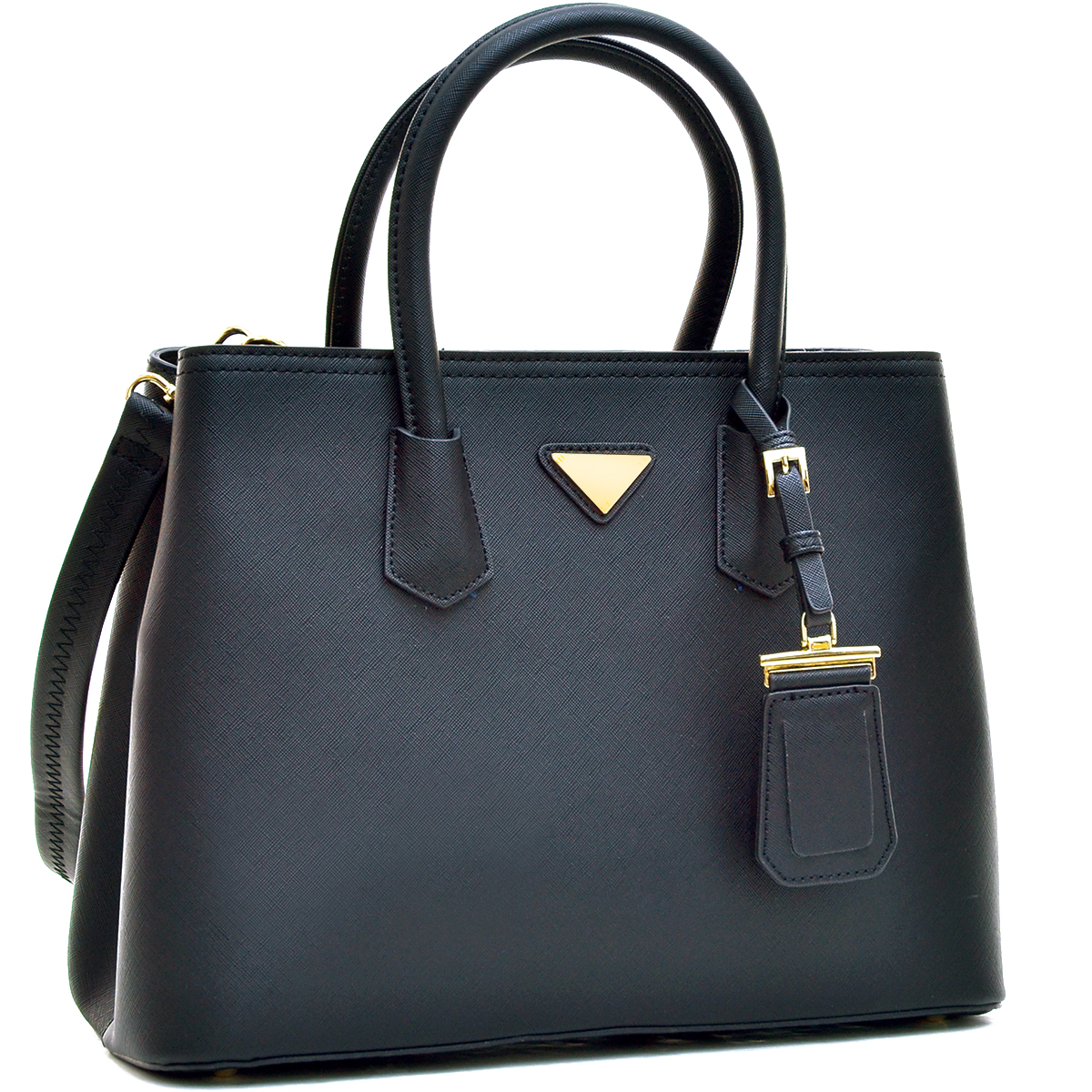 Saffiano Leather Medium Satchel with ID Tag