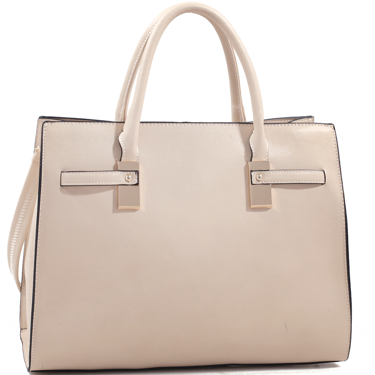 Structured Faux Leather Gold-Tone Satchel