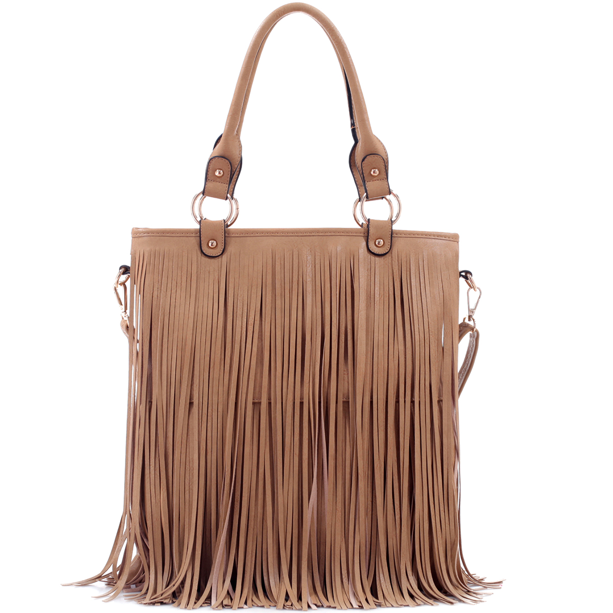 Fringe Faux Leather Large Tote Bag