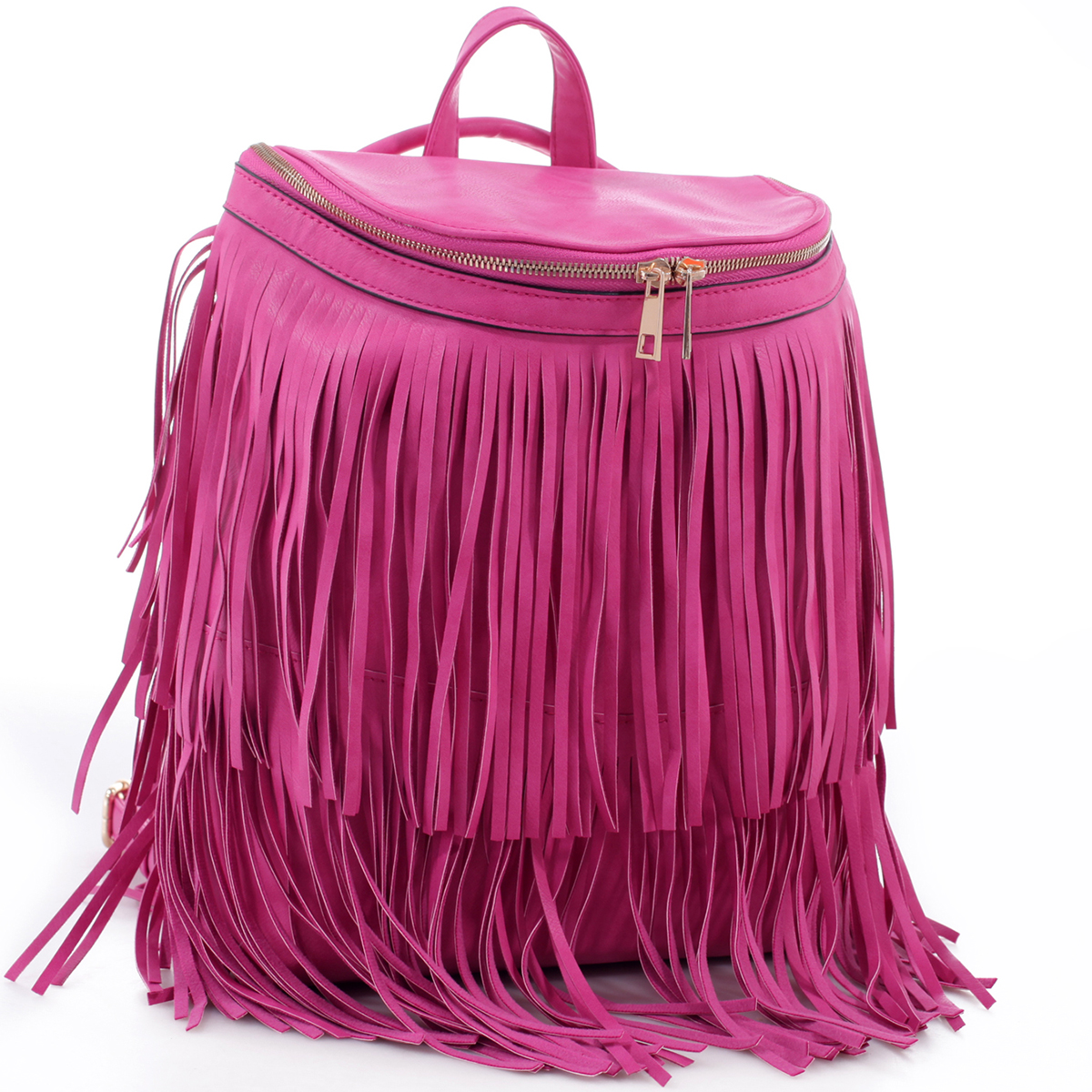Fringe Top Flap Zipper Backpack