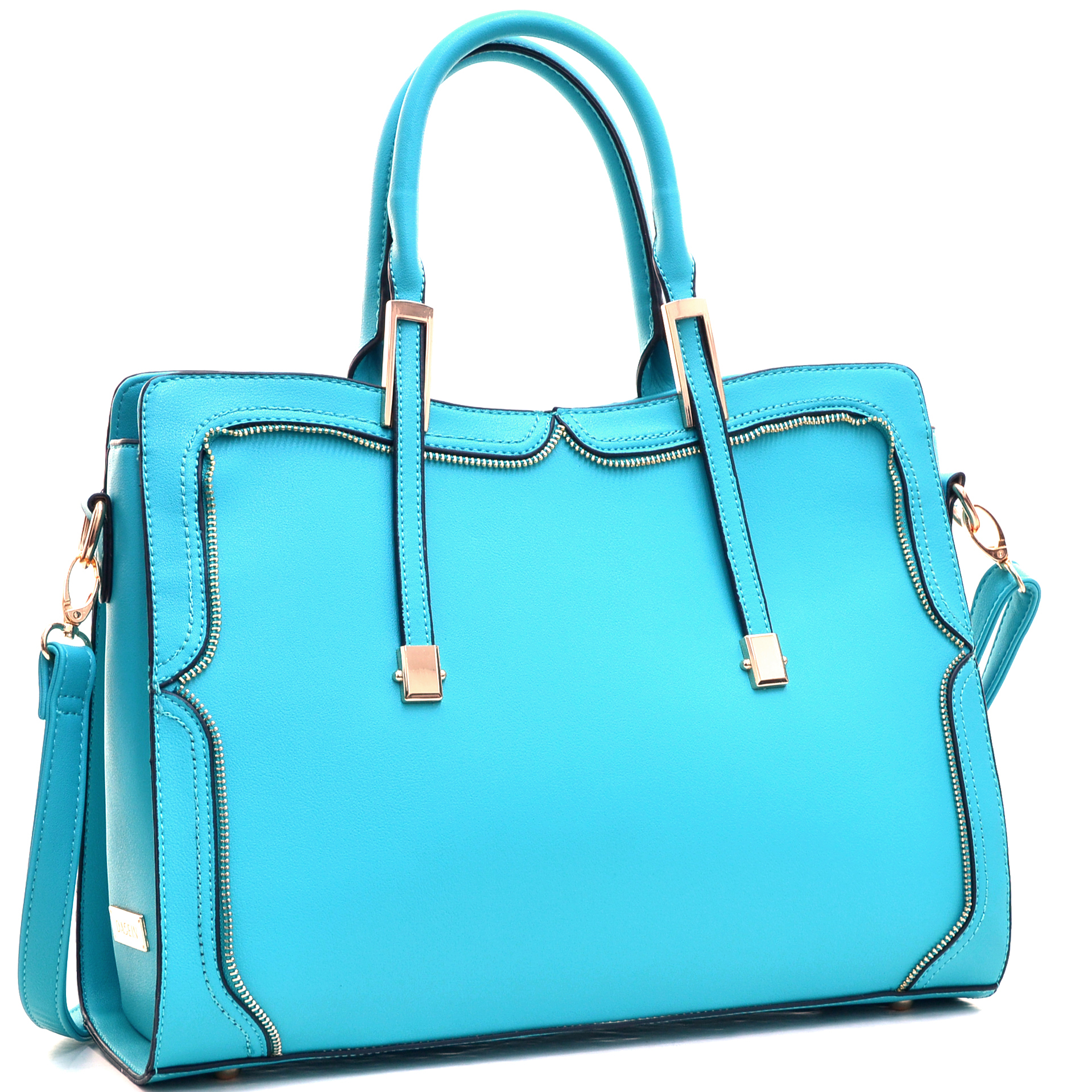 Women's Satchel with Metal and Zipper Detail