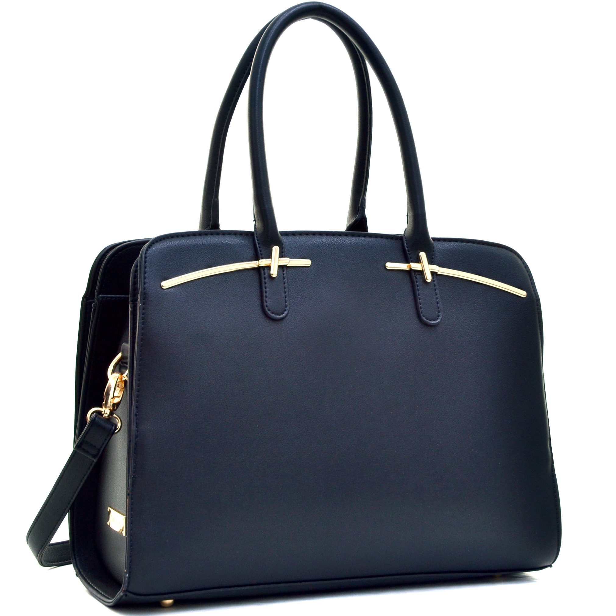 Faux Leather Double Magnetic Closure Satchel