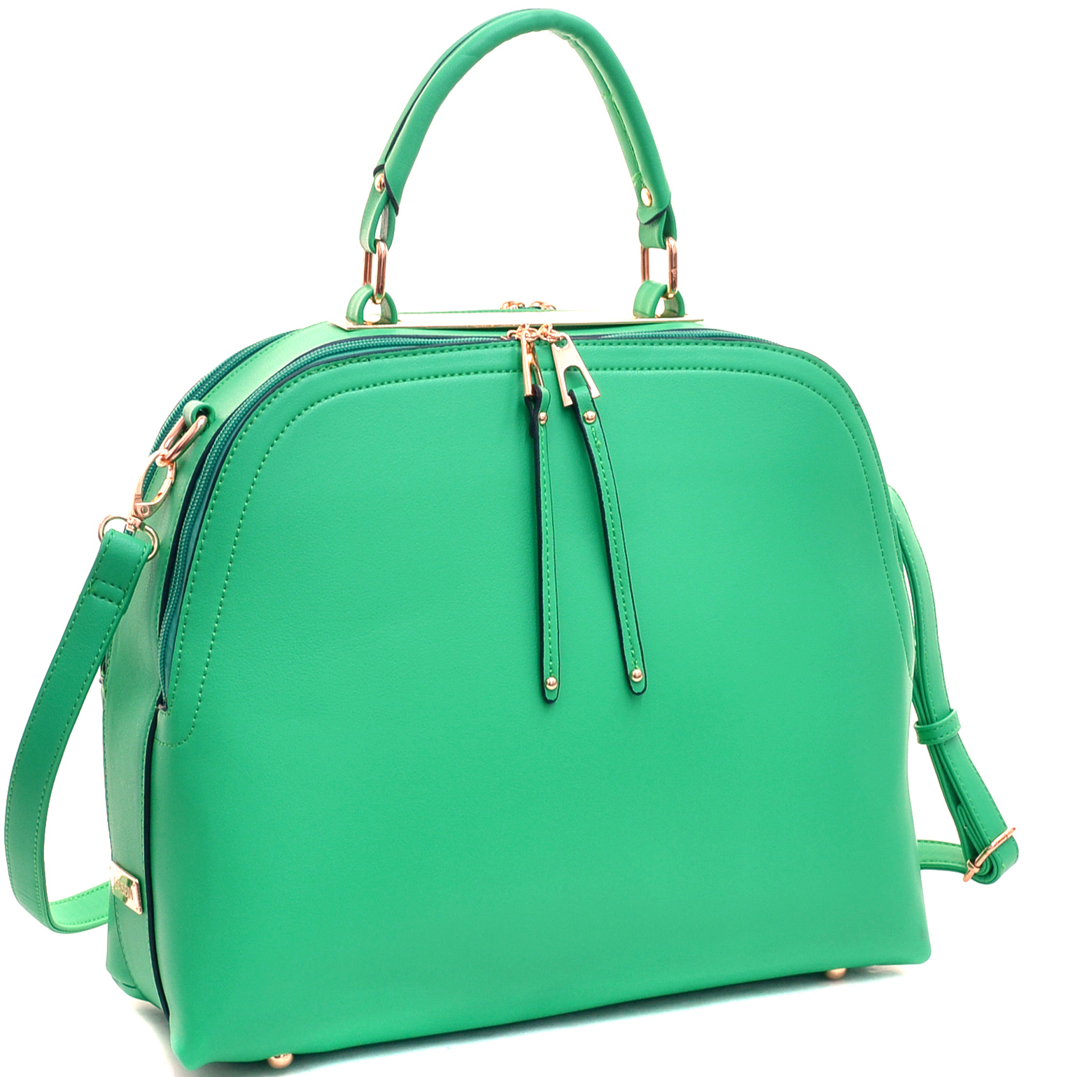 Faux Leather Dome Satchel with Zipper Closure