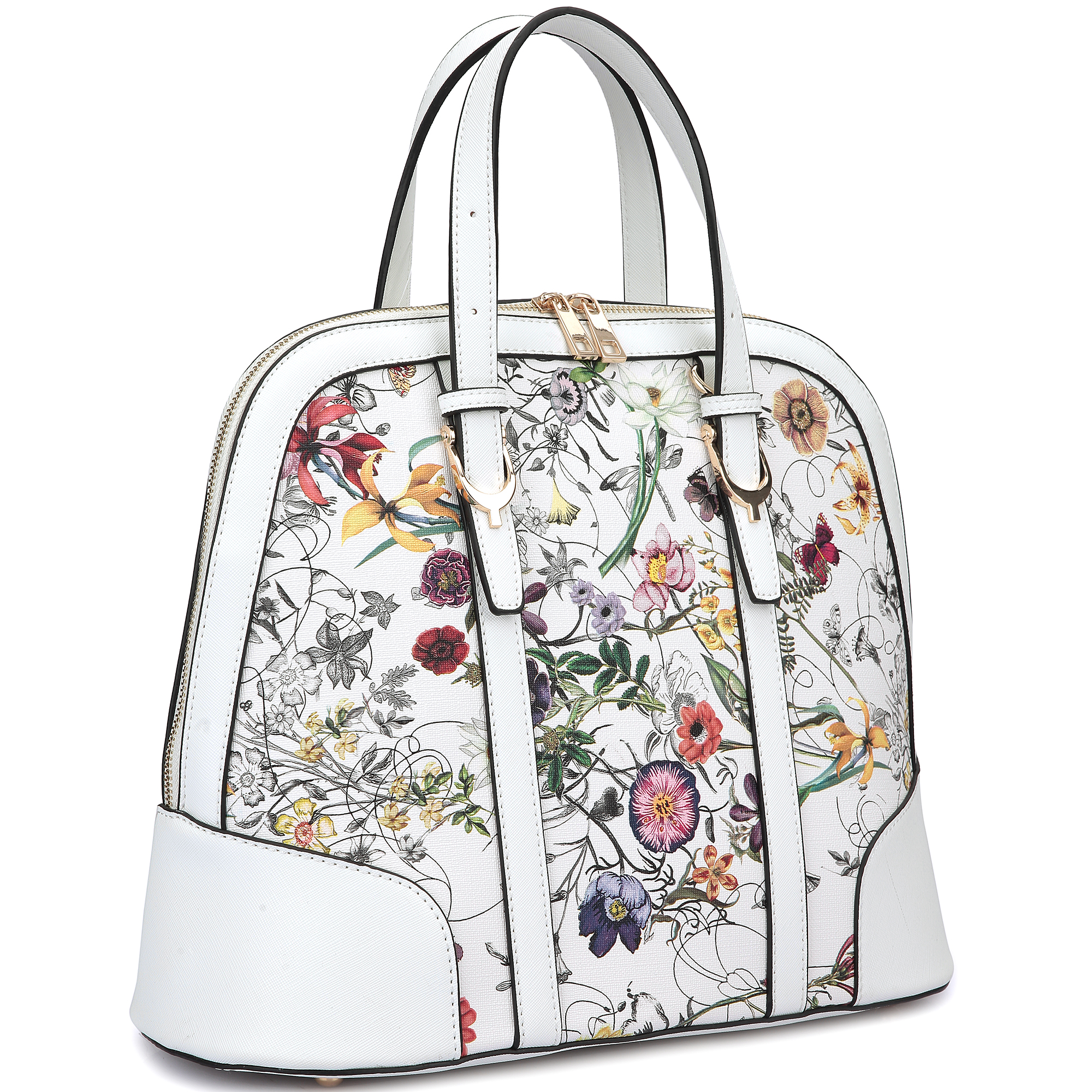 Zip Around Flat Bottom Floral Fashion Satchel