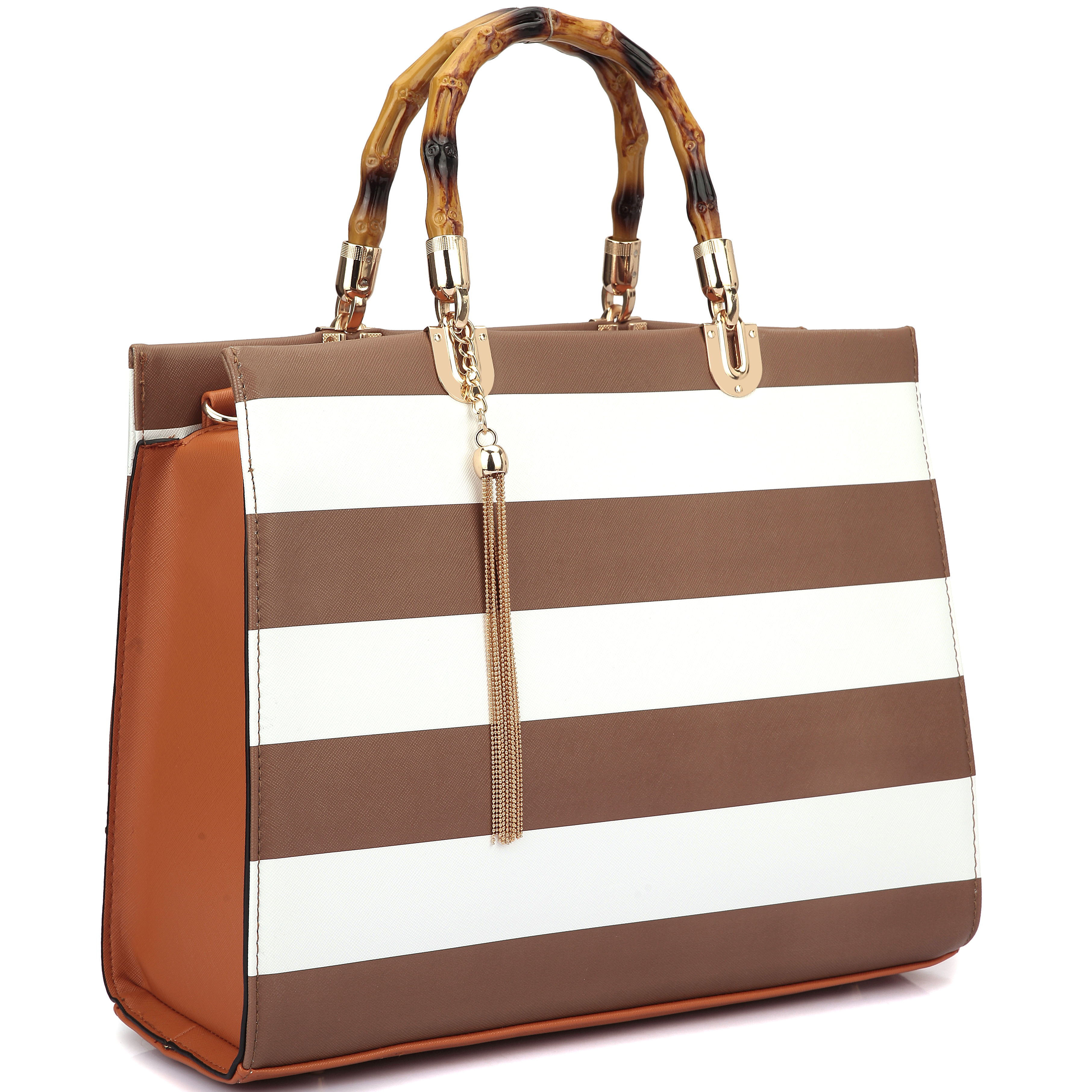 Wooden Handle Faux Patent Leather Satchel Bag