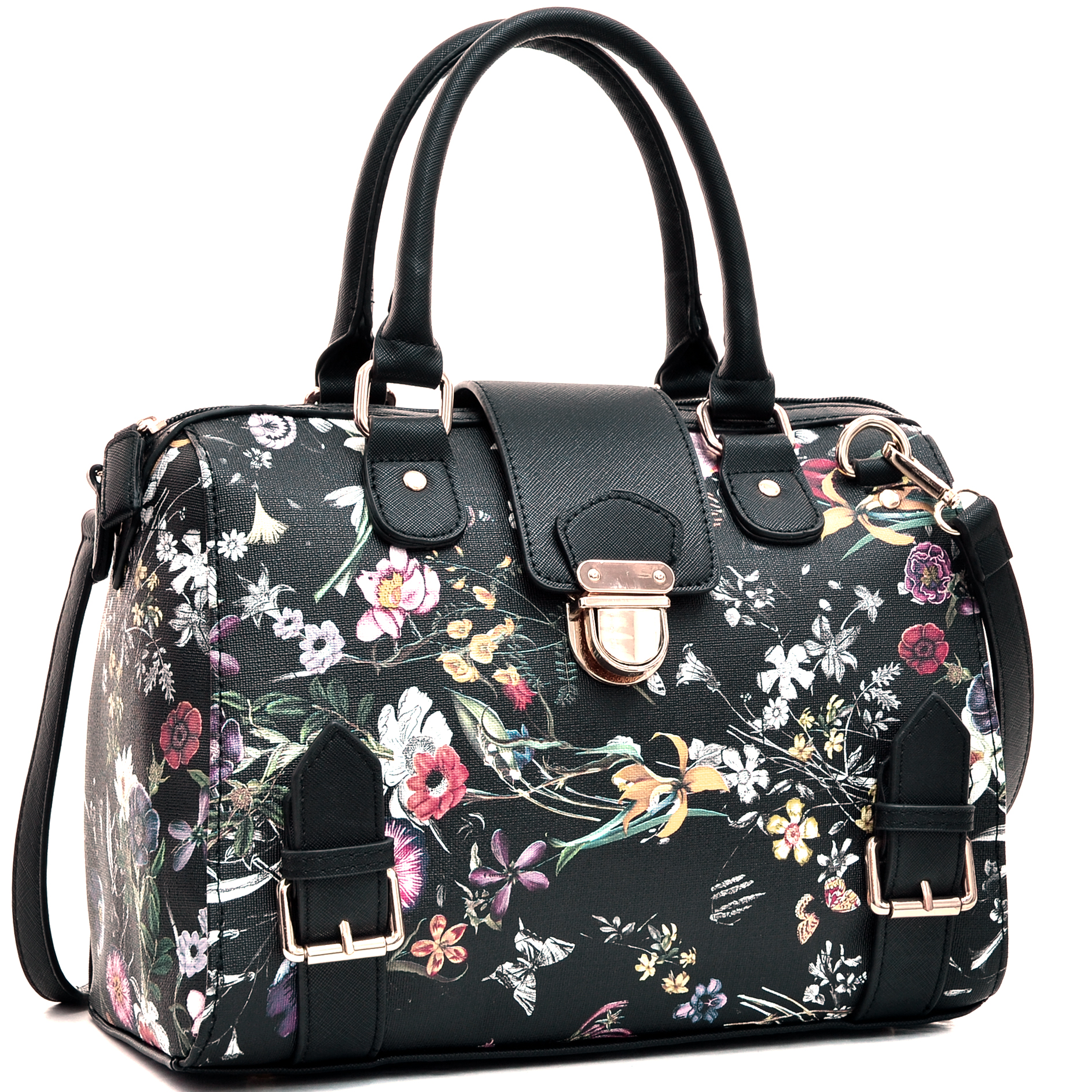 Floral Structured Satchel with Zip Top Closure