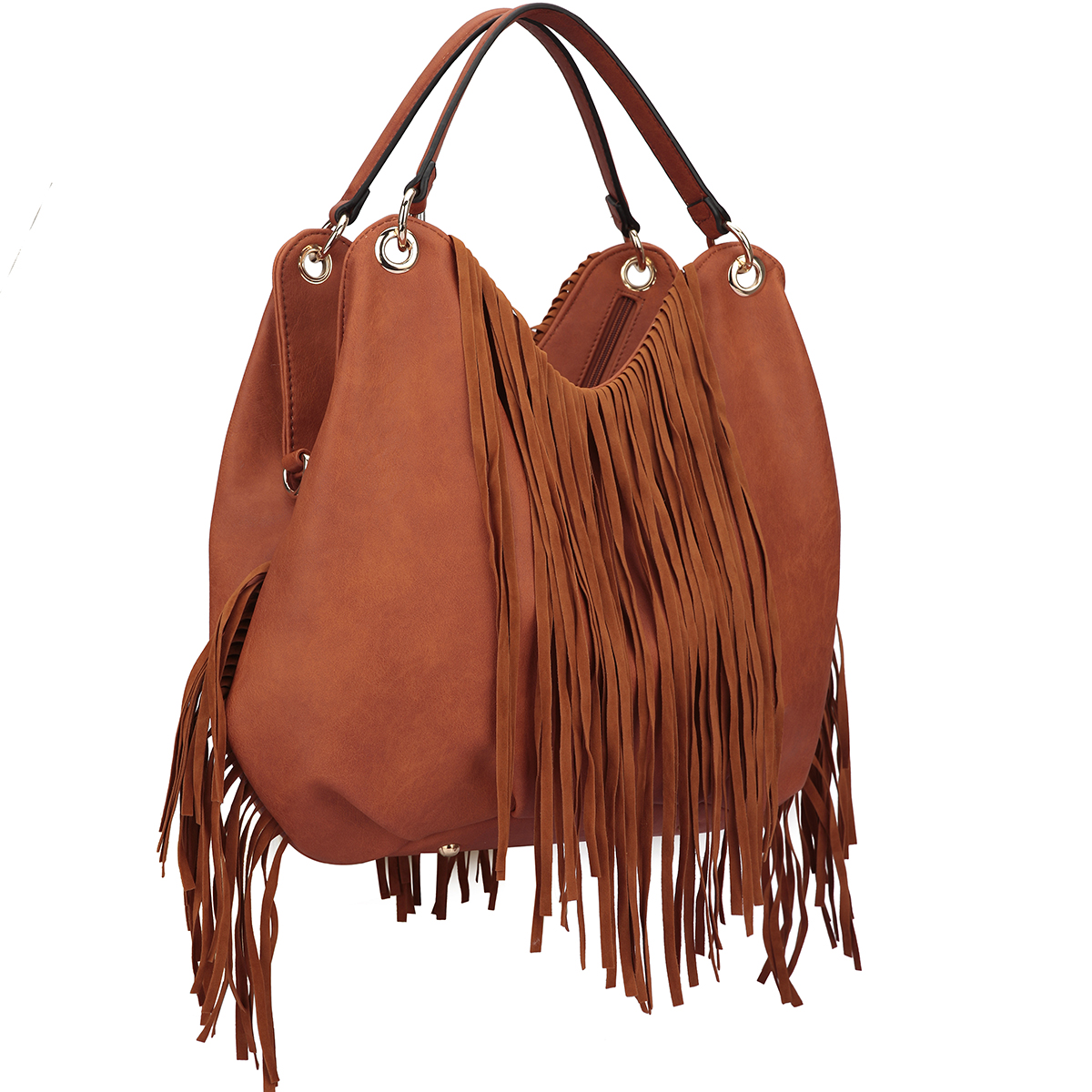 Fringe Studded Hobo Bag