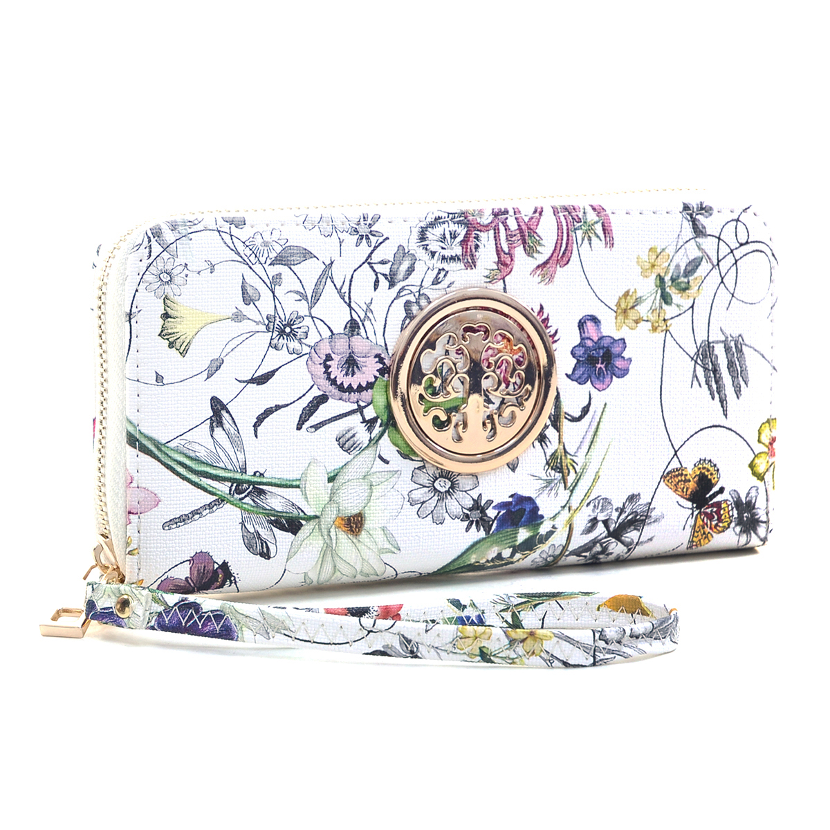 Floral Zip Around Emblem Wallet