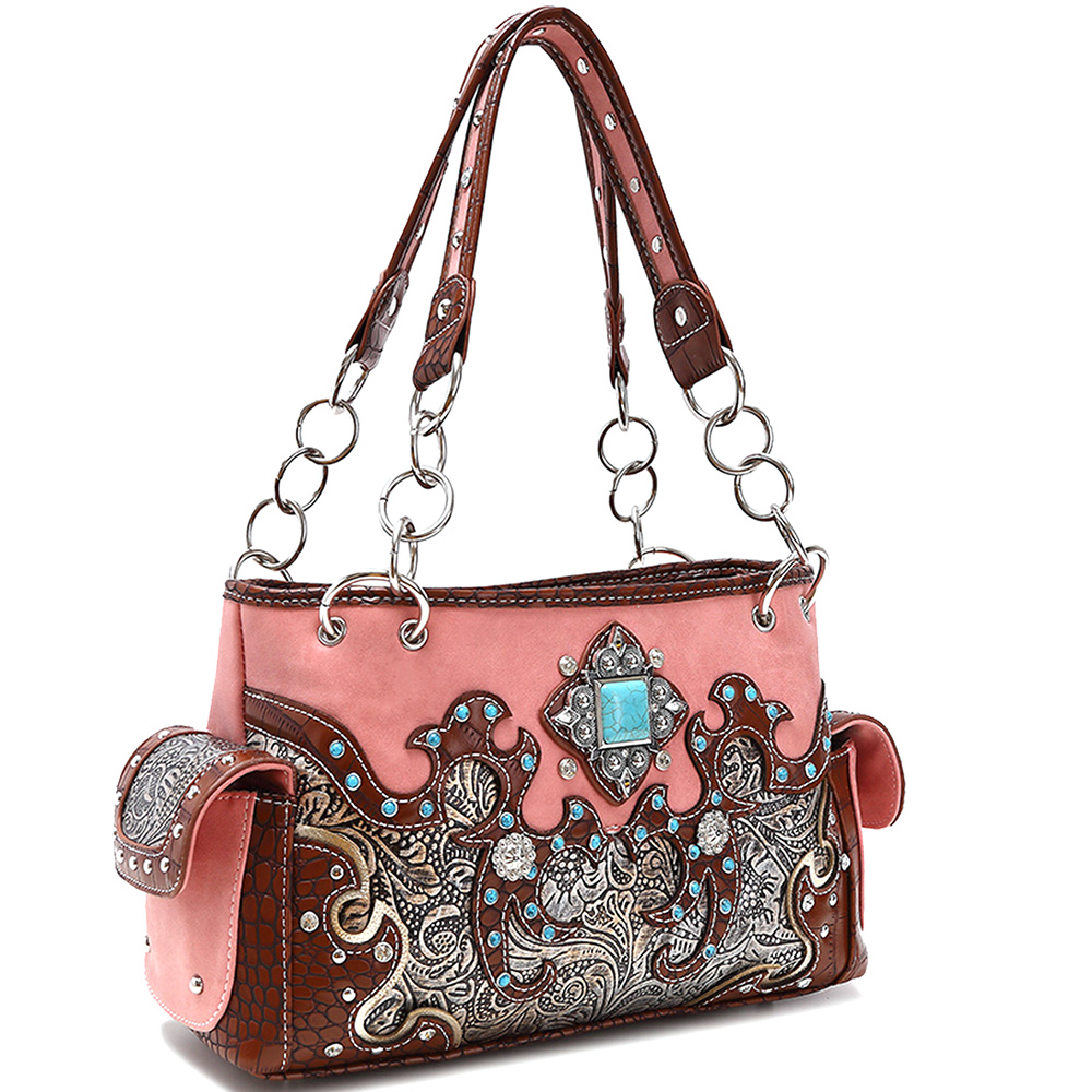 Floral Embroidered Western Turquoise Studded Shoulder Bag