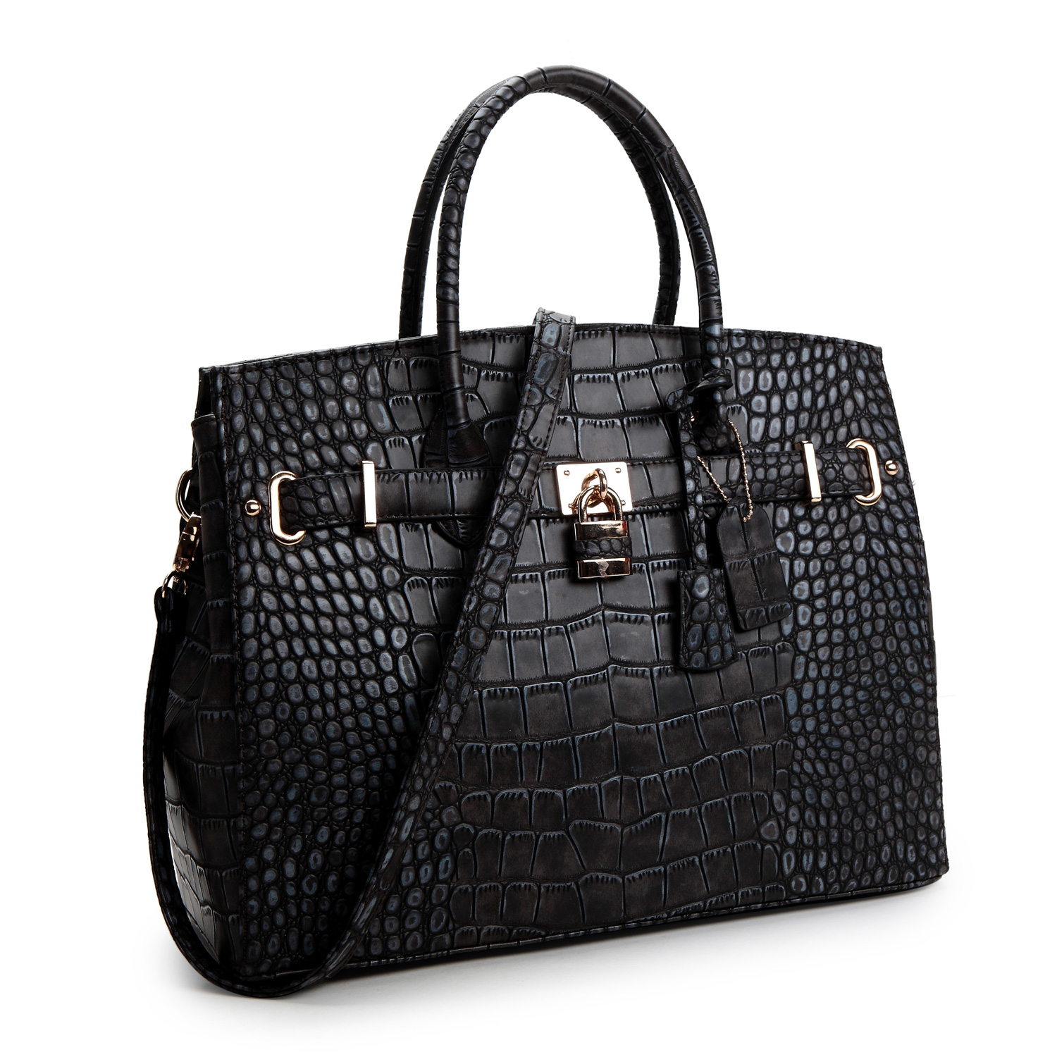 Dasein® Croco Embossed Satchel with Padlock