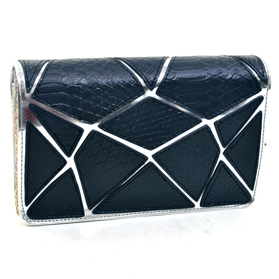 Dasein® Croco Patch Chrome Clutch
