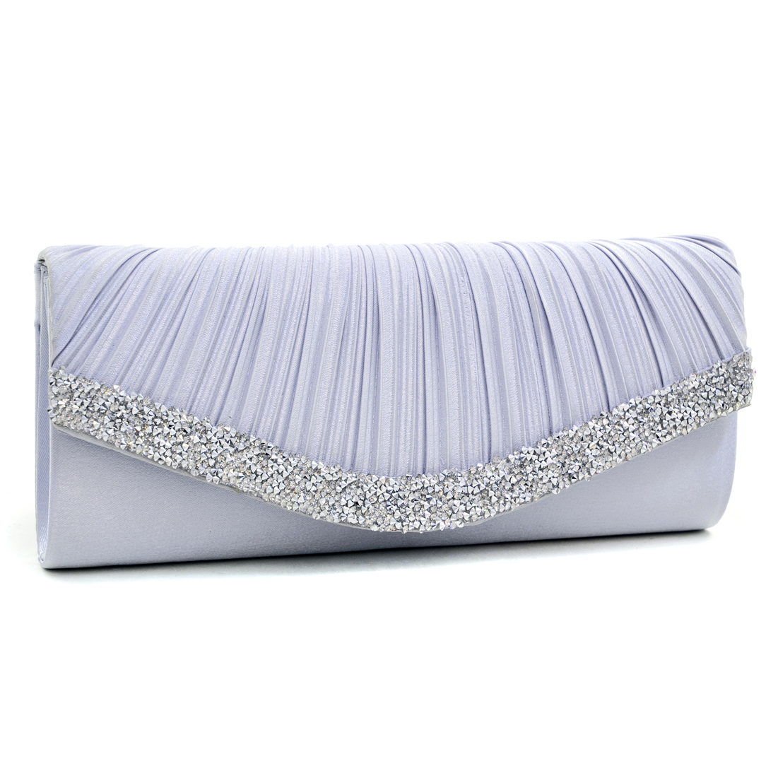 Dasein® Pleated Crystal Trim Evening Clutch