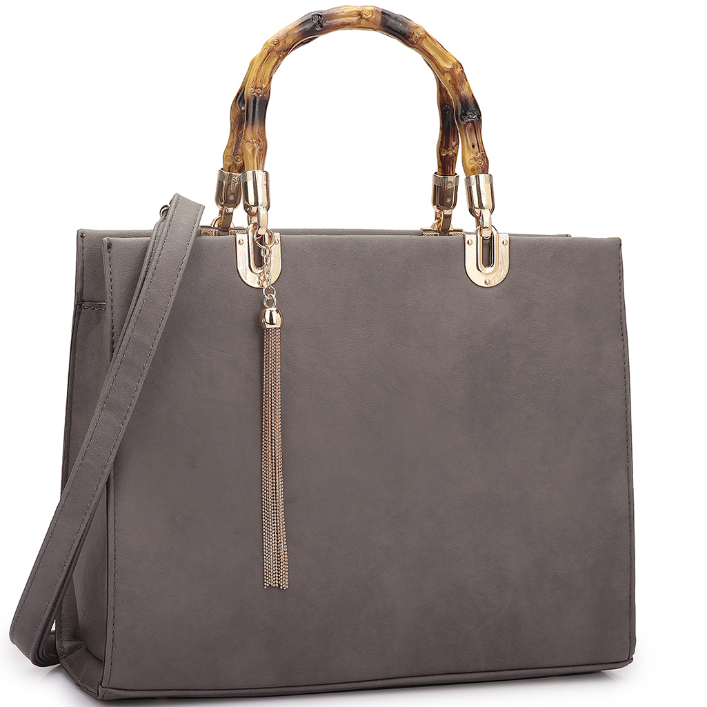 Dasein® Bamboo Handle Smooth Leather Medium Tote Bag