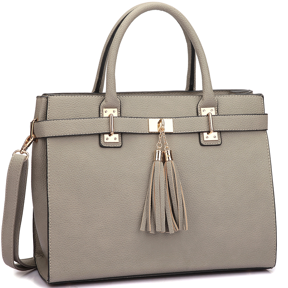 Faux Leather Double Tassel Satchel with Shoulder Strap