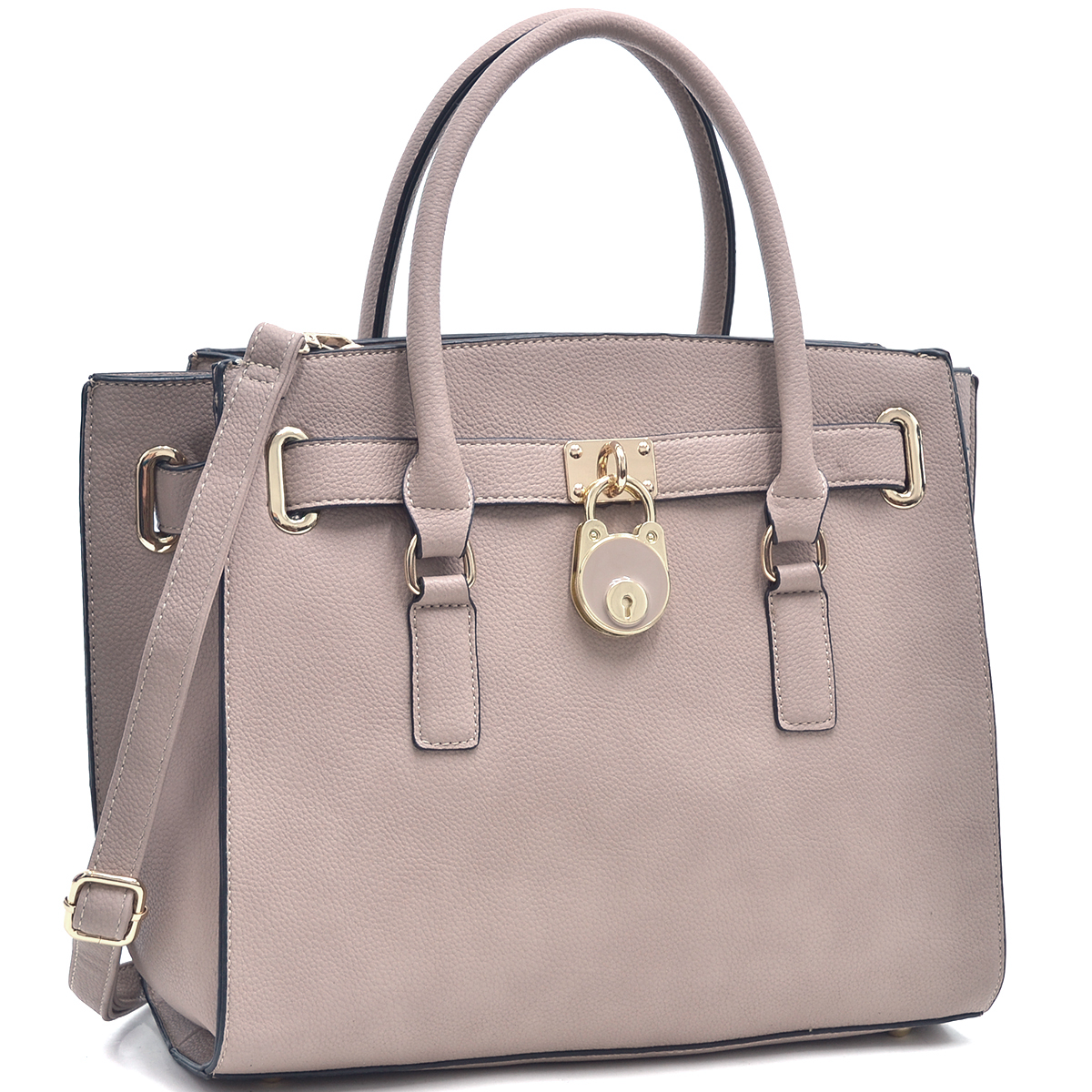 Dasein® Saffiano Leather Belted Medium Tote Bag