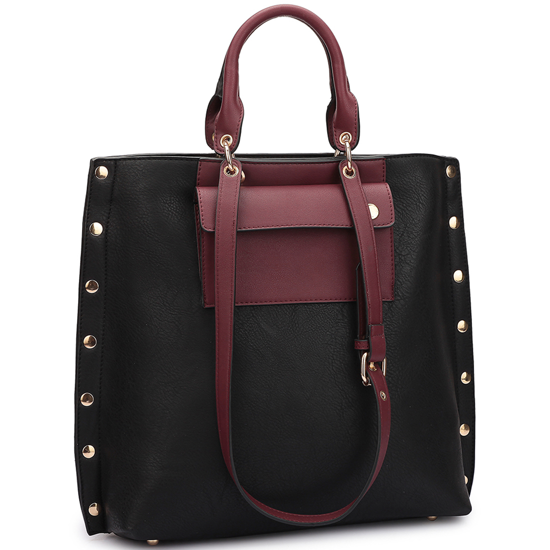 Dasein Tote with front pocket and side gold snap accents