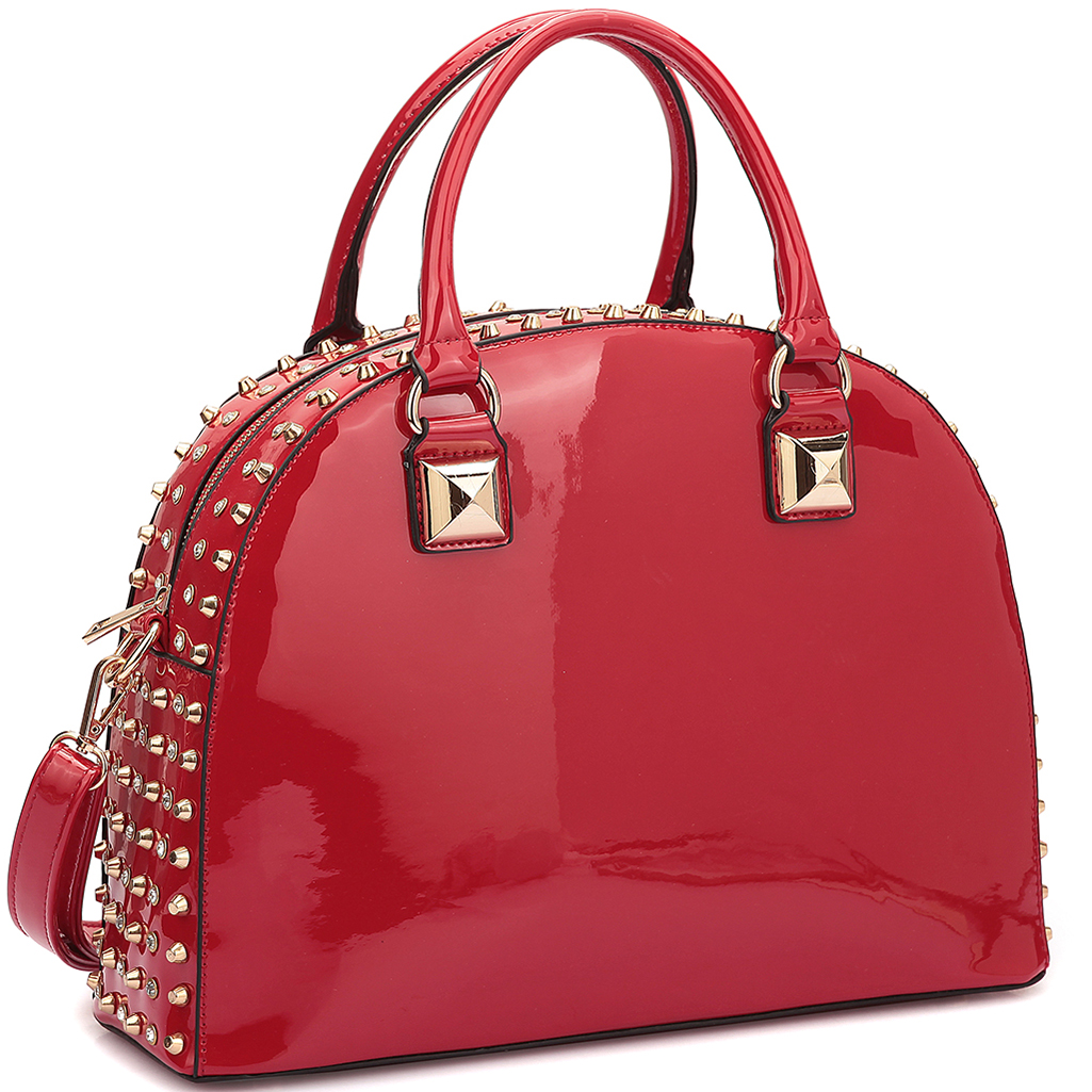 Dasein® Patent Rhinestone Studded Dome Zip Around Flat Bottom Fashion Hand BagBag