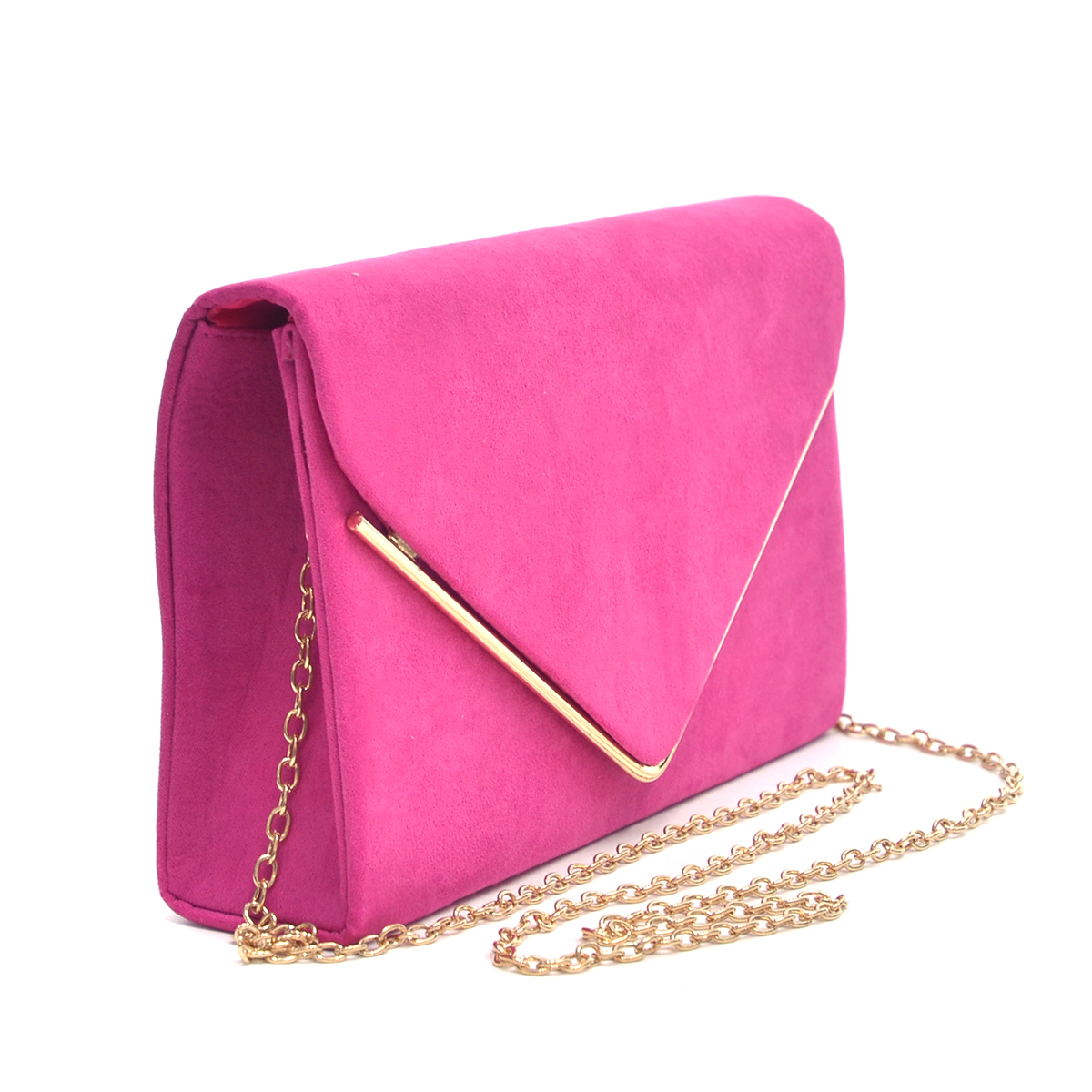 Velvety  Clutch with Removable Chain Strap