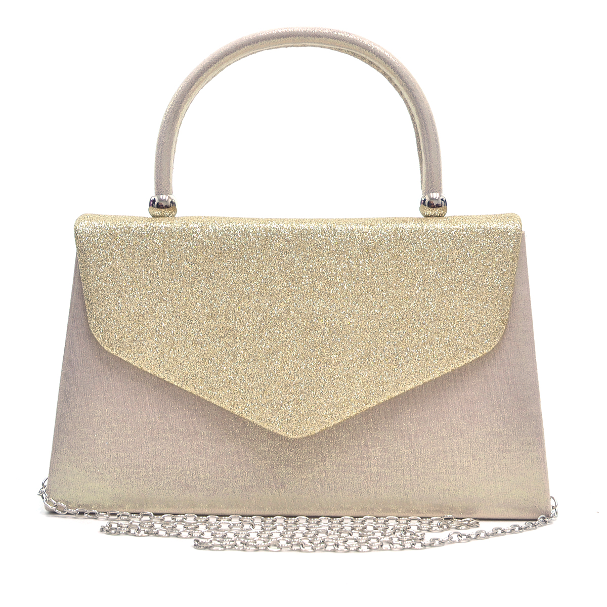 Glitter Frosted Clutch with Top Handle and  Removable Chain Strap