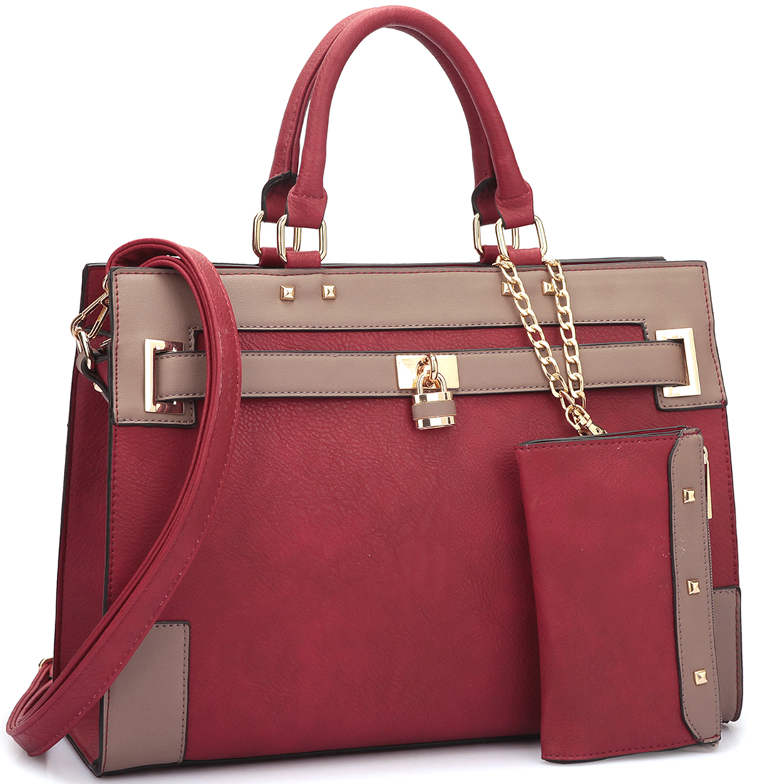 Faux Leather Padlock & Key Satchel with Shoulder Strap