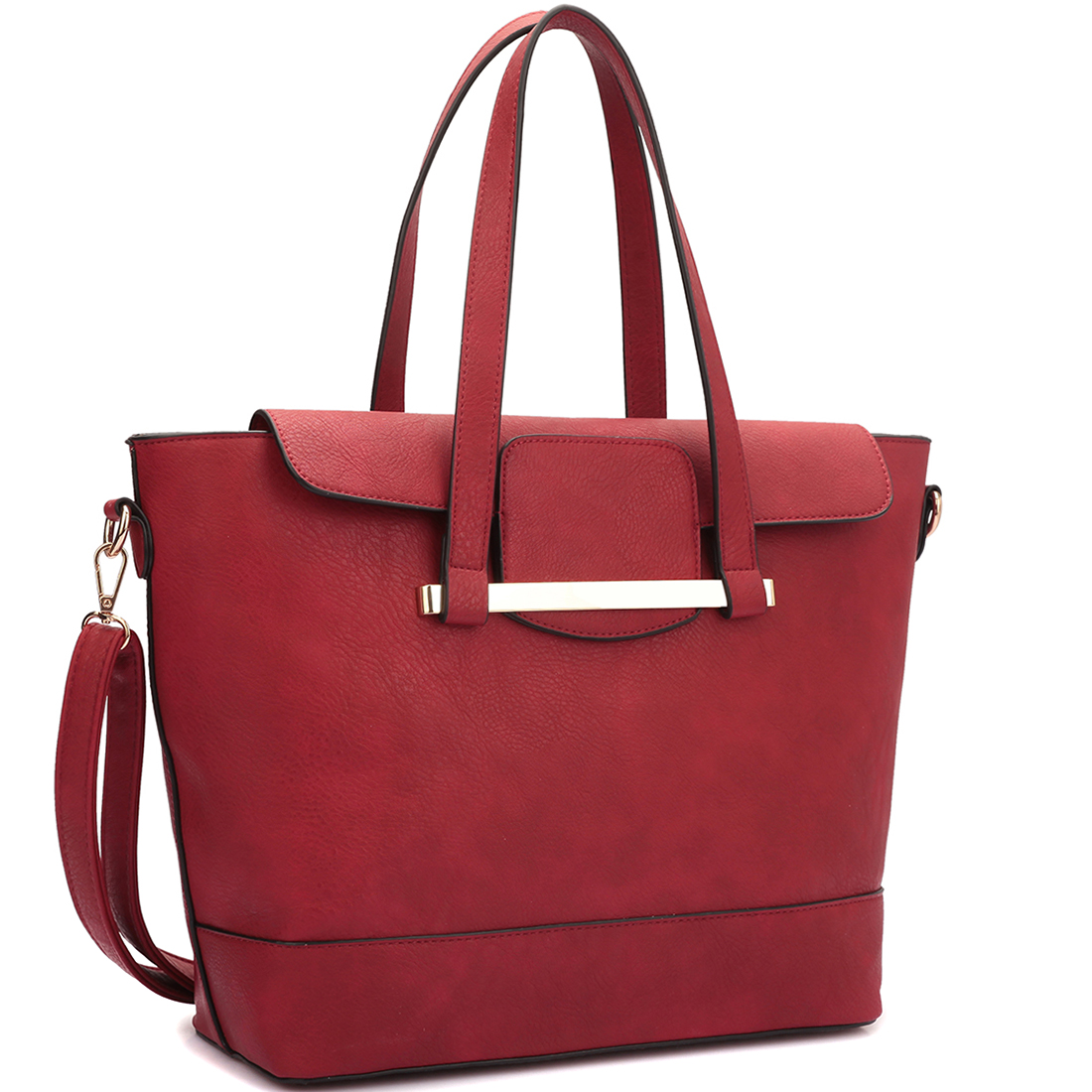 Dasein® 2 in 1 Faux Leather Bag Combination of Mini Satchel and Tote