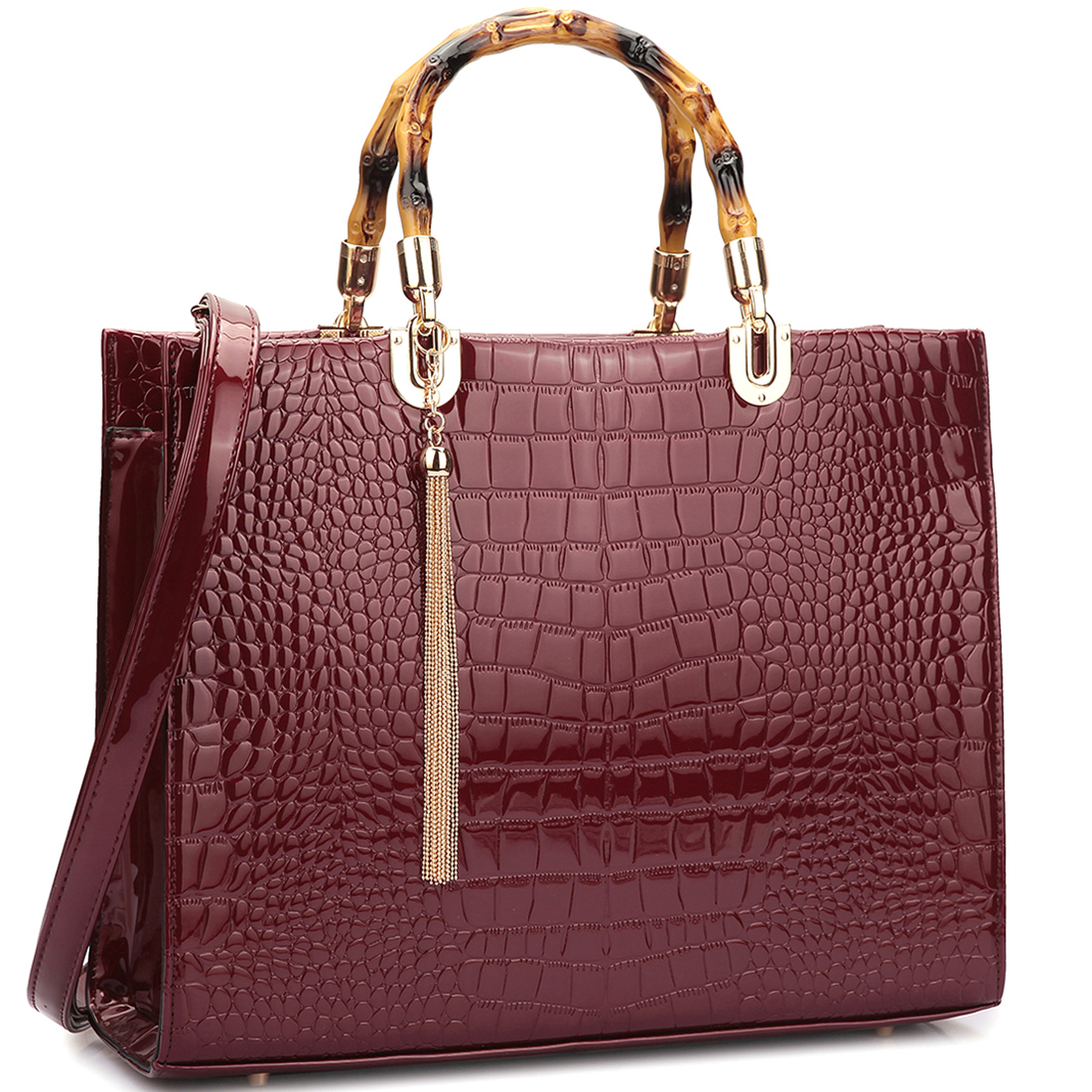 Wooden Handle Croco Material Satchel Bag