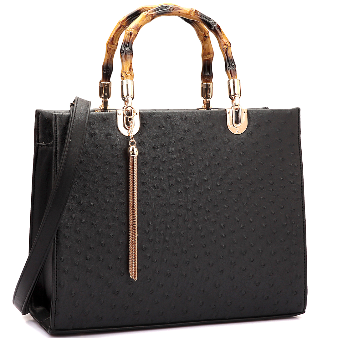 Ostrich Material Wooden Handle Leather Satchel with Tassel
