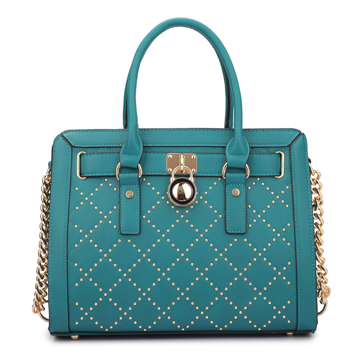 Medium Satchel with Decorative Gold Studs and Belted Lock Deco