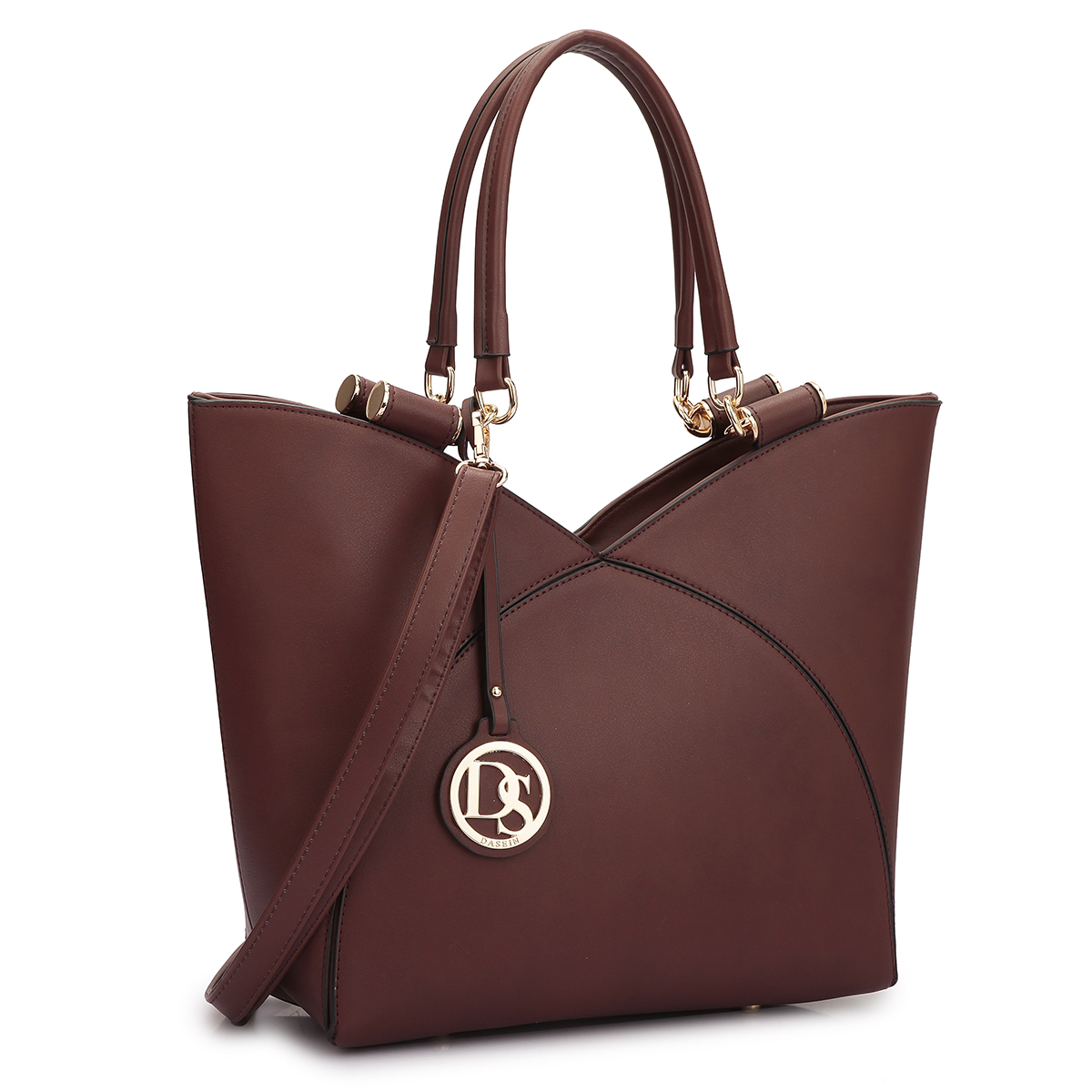 Dasein Faux Leather V-design Tote