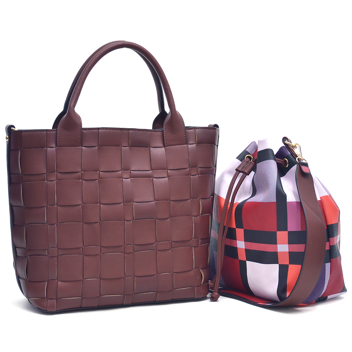 Dasein Faux Leather Checkered/Plaid Designed Tote with Bucket Bag inside
