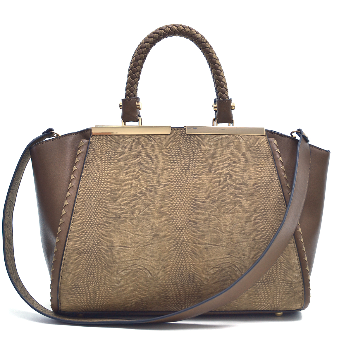 Dasein Faux Leather Two Tone Winged Satchel